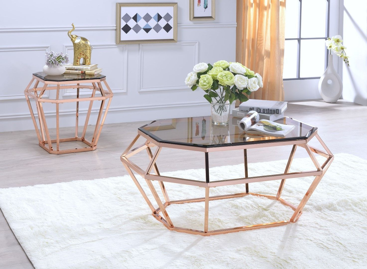 Current Furniture Of America Orelia Brass Luxury Copper Metal Coffee Tables Pertaining To Acme 83350 Clifton Gold Chrome Black Glass Finish 3 Piece (View 3 of 20)