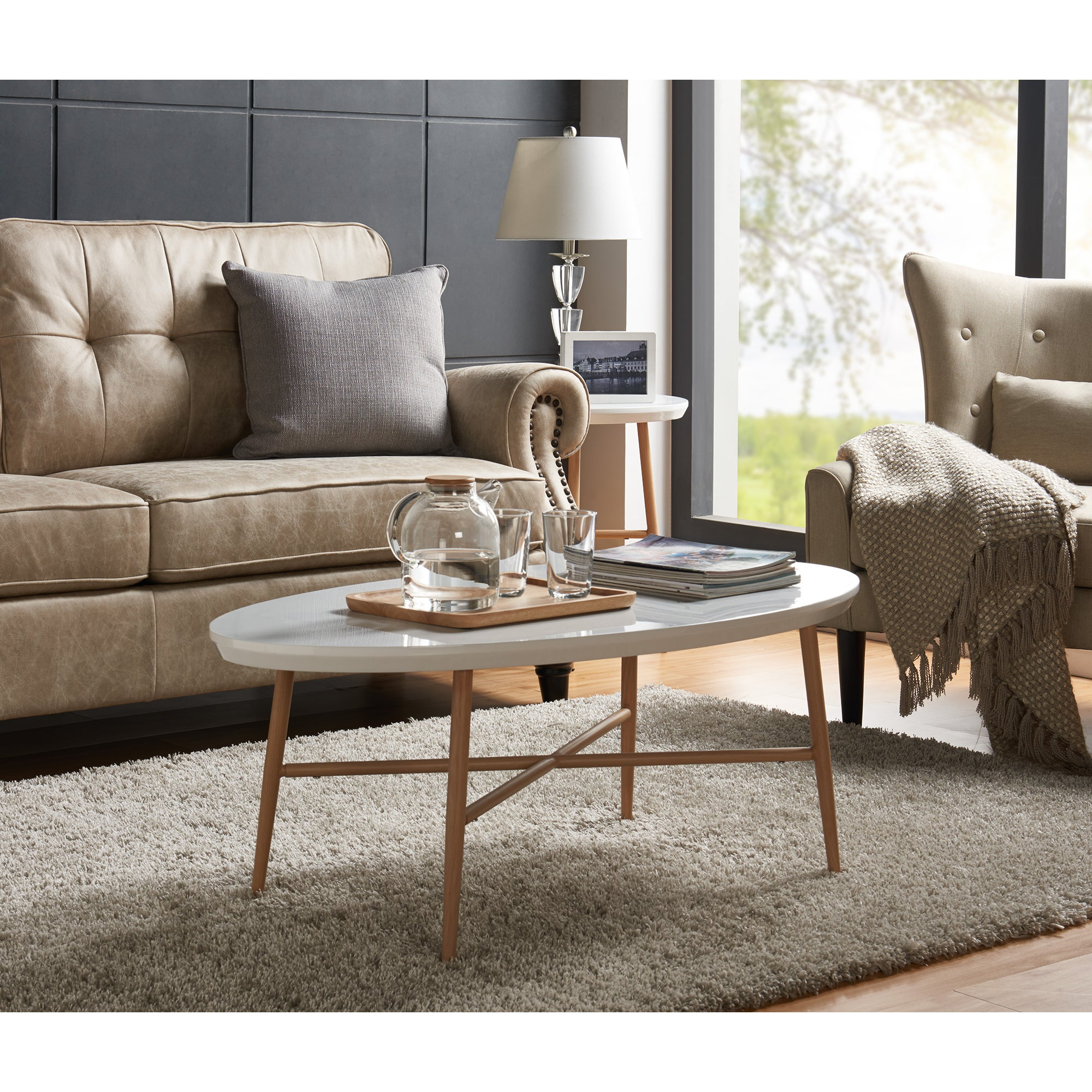 Current Handy Living Miami White Oval Coffee Tables With Brown Metal Legs With Regard To Handy Living Miami White Oval Coffee Table With Light Oak Metal Legs (View 16 of 20)