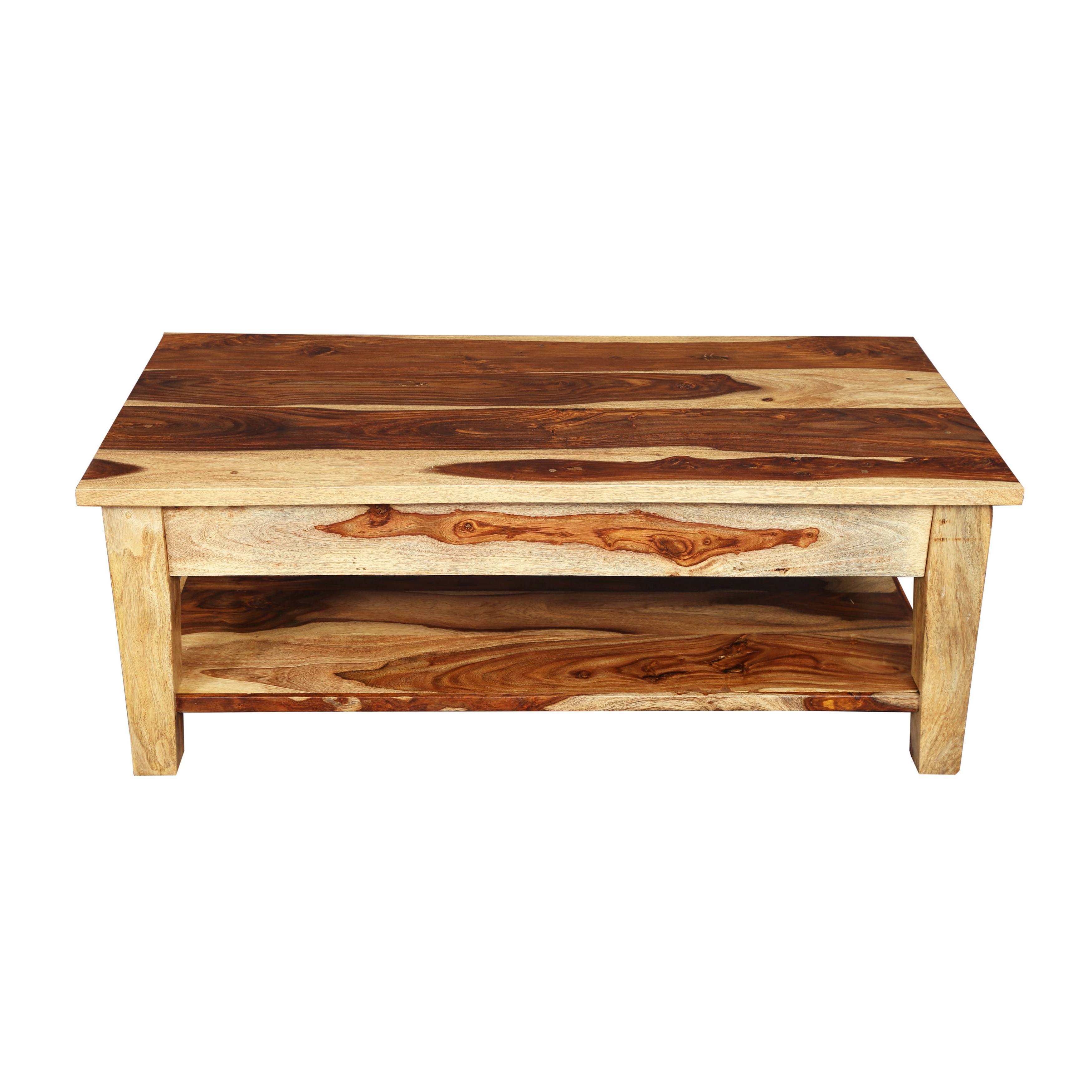 "Current Idris Dark Sheesham Solid Wood Coffee Tables With Handmade Porter Taos Solid Sheesham Coffee Table With Storage Drawer (india) – 18""h X 24""w X 48""l (View 7 of 20)"
