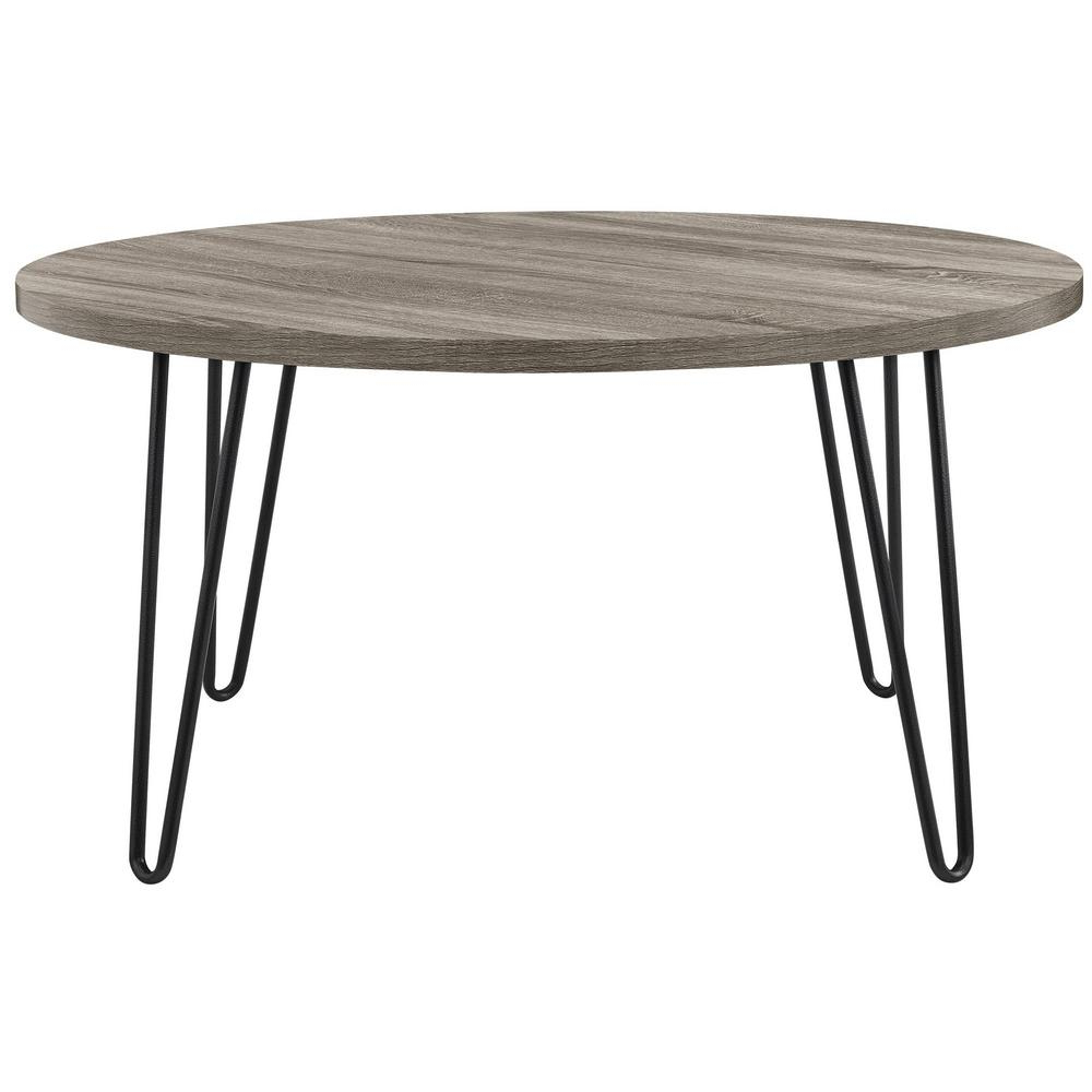 Current Lockwood Rectangle Coffee Tables With Ameriwood Montrose Weathered Oak Retro Round Coffee Table (View 6 of 20)