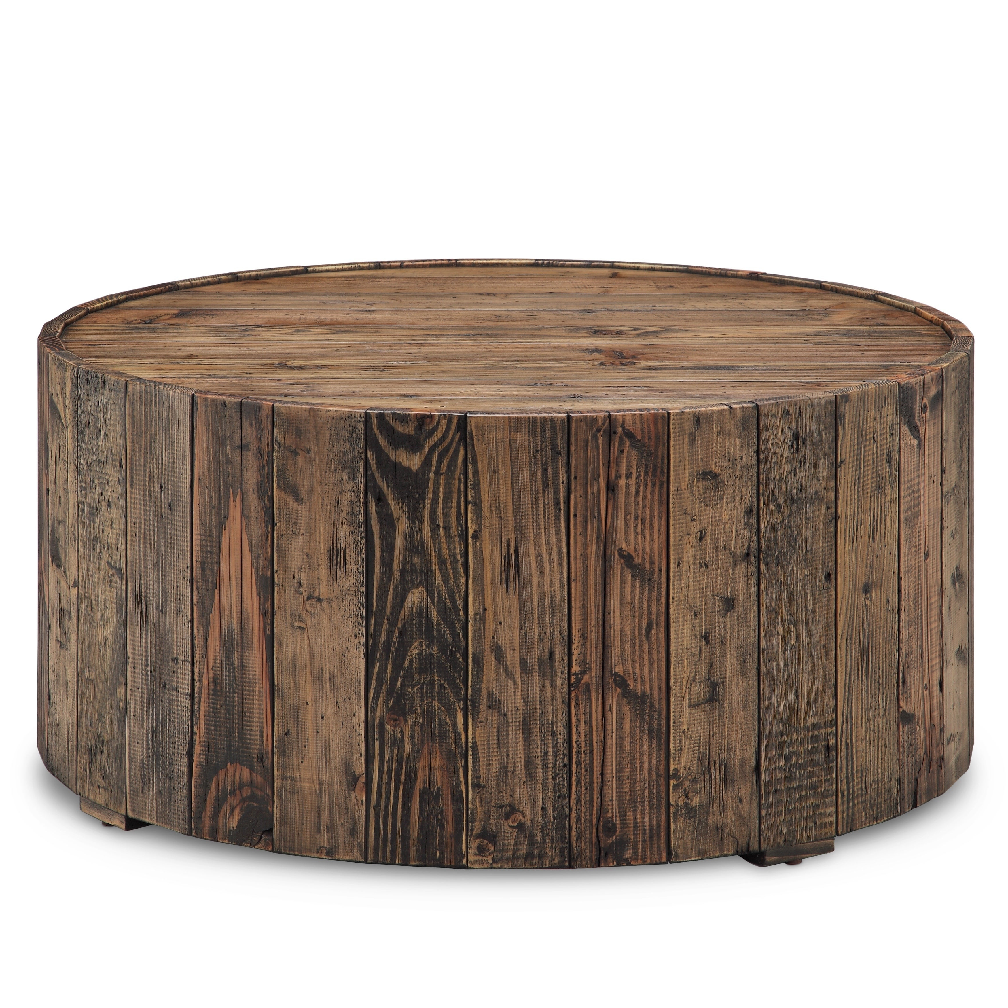 Current Montgomery Industrial Reclaimed Wood Coffee Tables With Casters Throughout Carbon Loft Horace Rustic Reclaimed Pine Round Coffee Table With Casters (View 5 of 20)