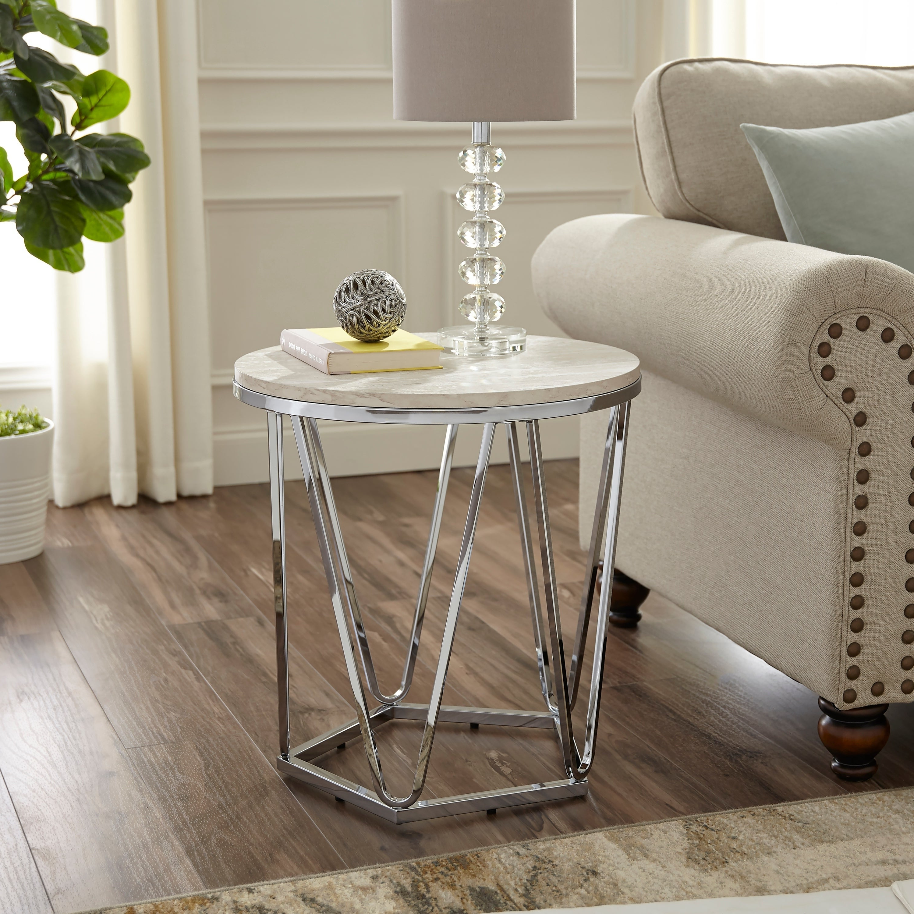 Current Silver Orchid Henderson Faux Stone Round End Tables For Silver Orchid Henderson Faux Stone Round Side Table (View 3 of 20)