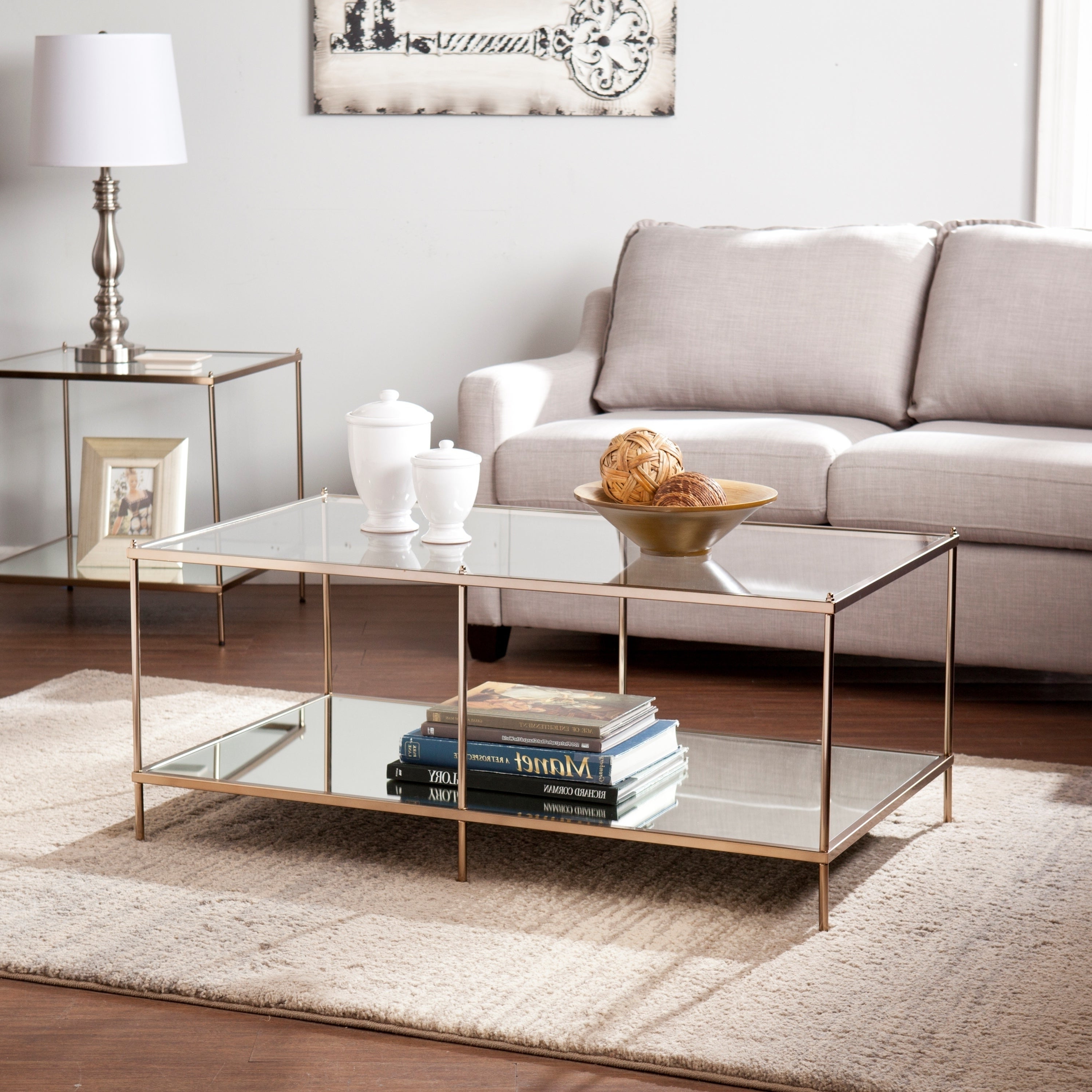 Current Silver Orchid Olivia Chrome Mirrored Coffee Cocktail Tables With Silver Orchid Olivia Goldtone Glass Top Coffee Table (View 13 of 20)