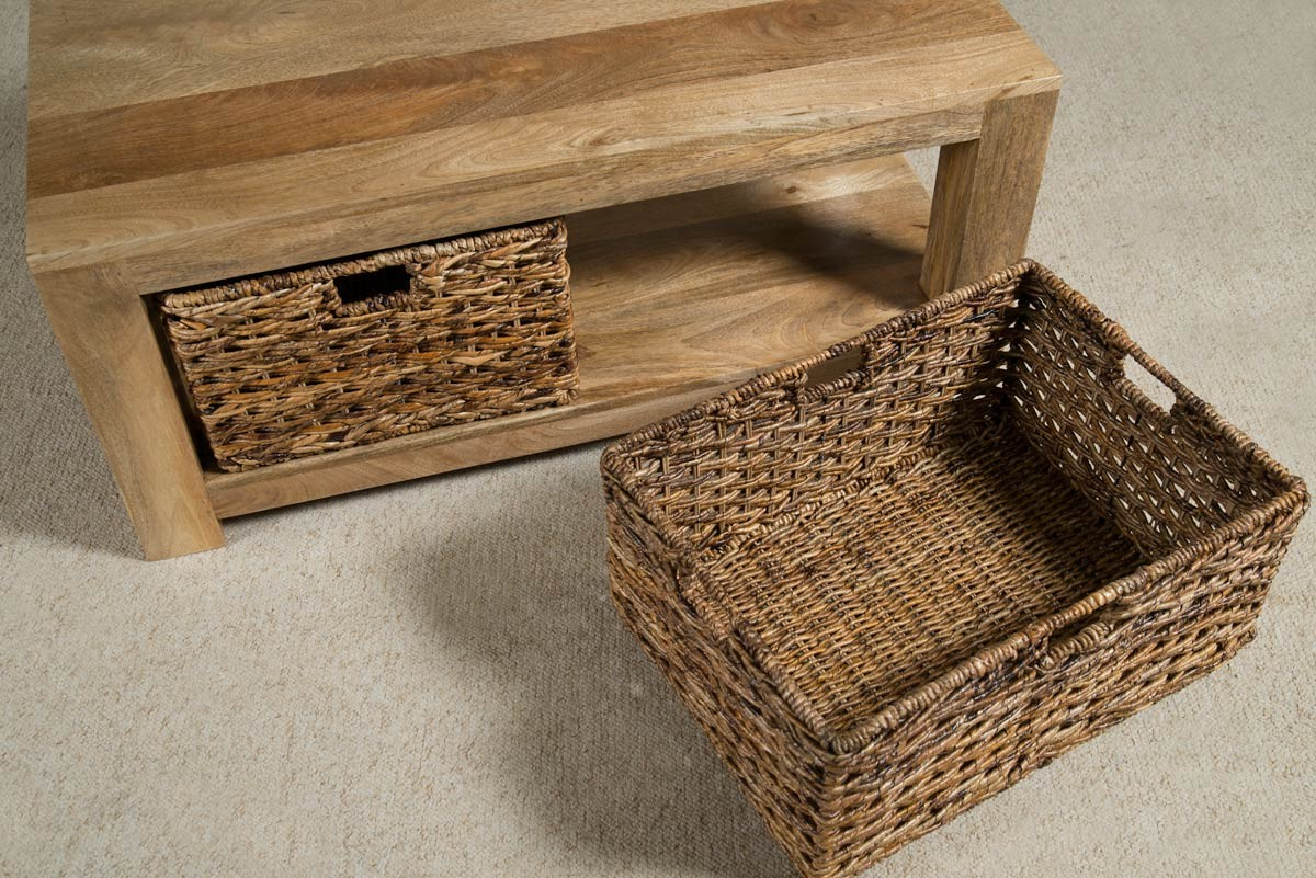 Dakota Light Mango Large Coffee Table With Baskets With Regard To 2019 Rustic Coffee Tables With Wicker Storage Baskets (View 15 of 20)
