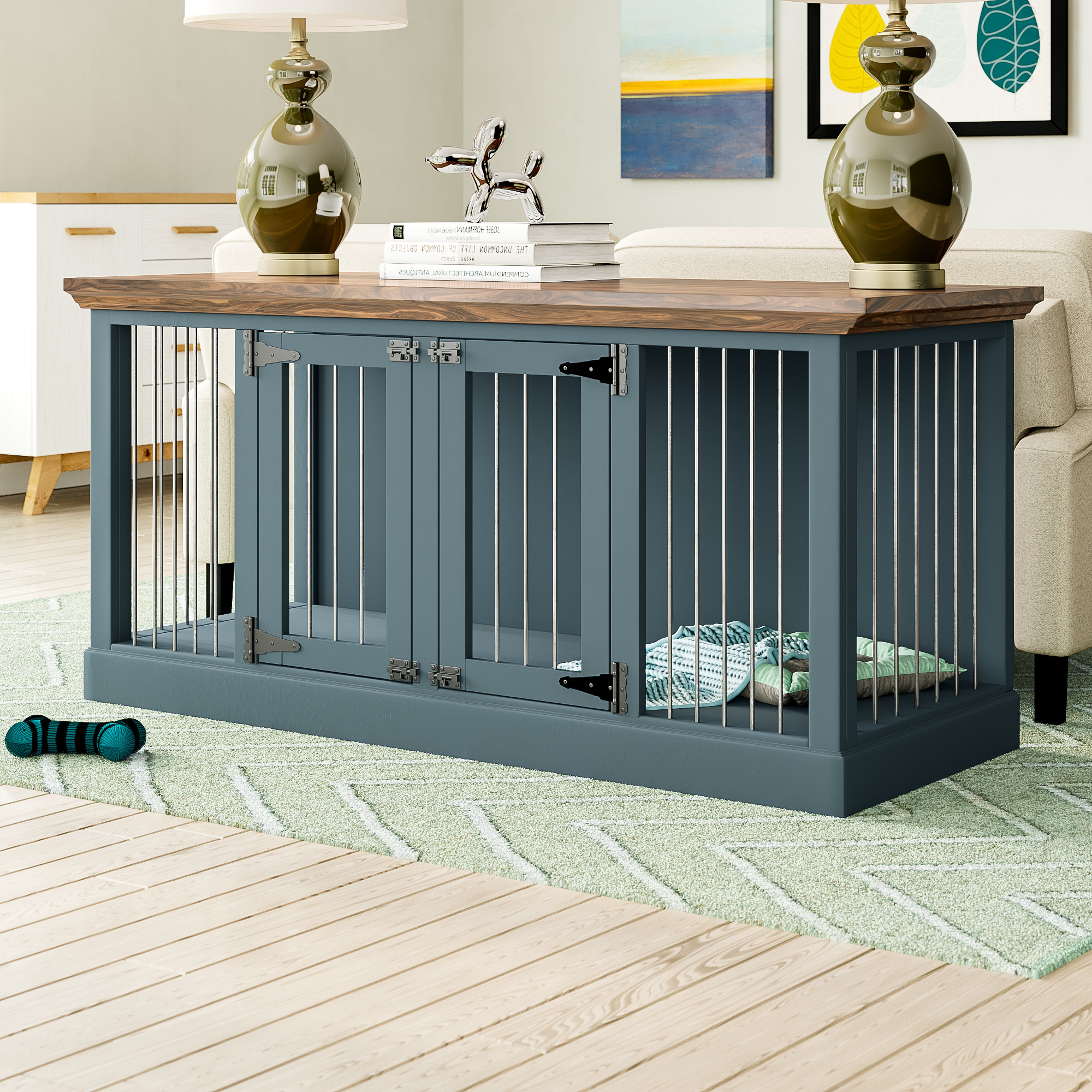 Damien Double Wide Small Credenza Pet Crate Pertaining To Damian Sideboards (View 12 of 20)