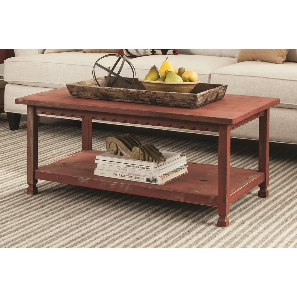 Details About Alaterre Furniture L Coffee Table Country Cottage Antique Wood Decor Red 42 In (View 4 of 20)