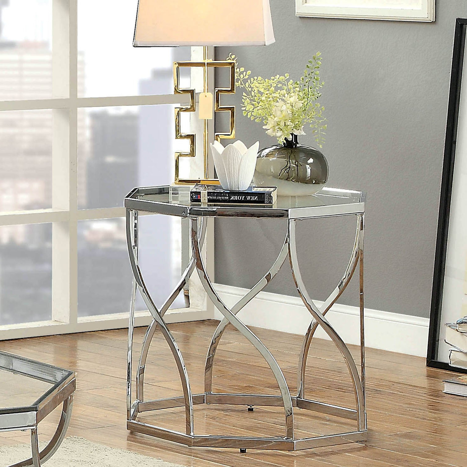 Details About Andor Contemporary Chrome End Tablefoa Within Favorite Furniture Of America Tellarie Contemporary Chrome Coffee Tables (View 14 of 20)