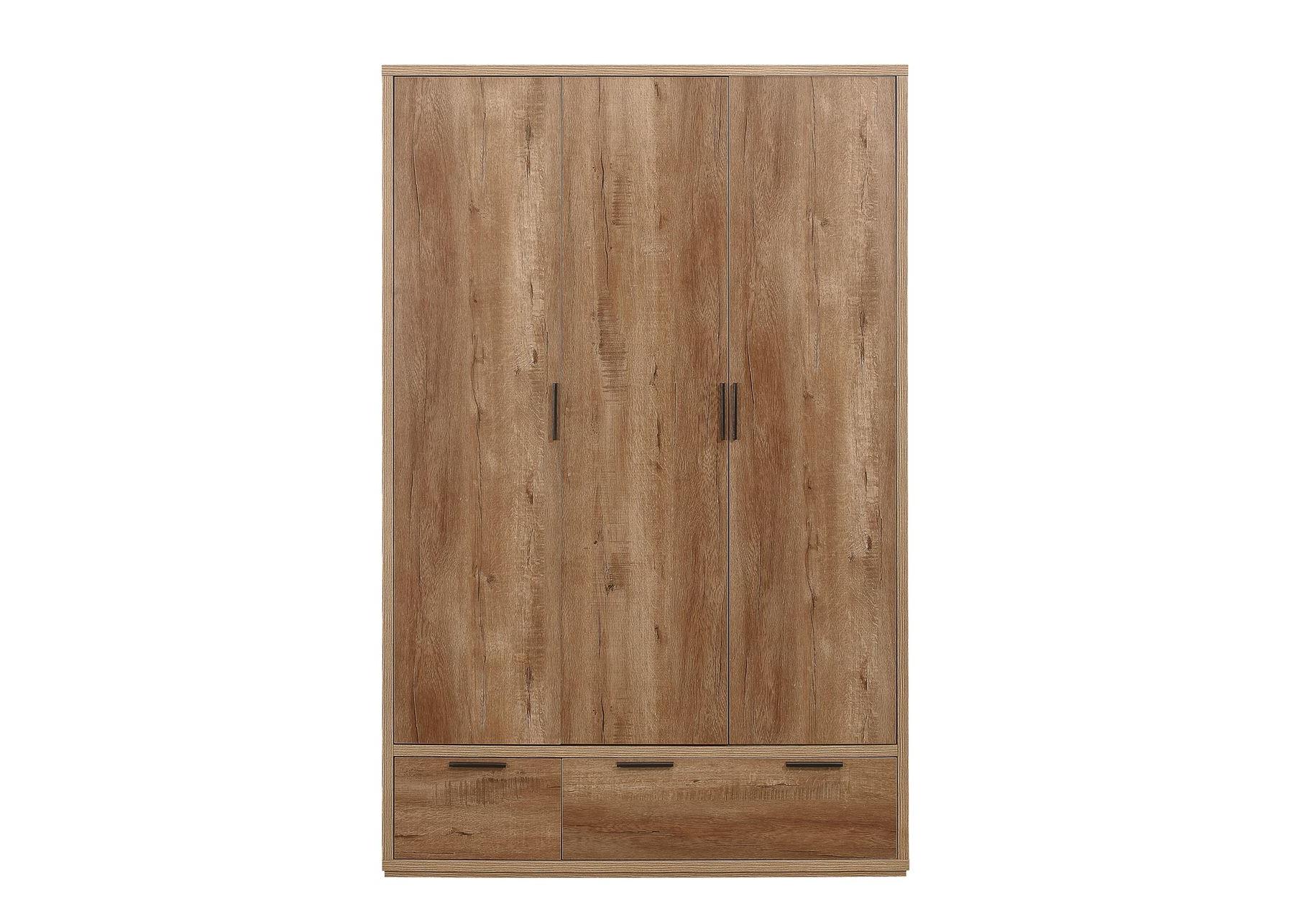 Details About Birlea Stockwell Rustic Oak 3 Door 2 Drawer Wardrobe Urban  Industrial Design With Malibu 2 Door 4 Drawer Sideboards (View 5 of 20)