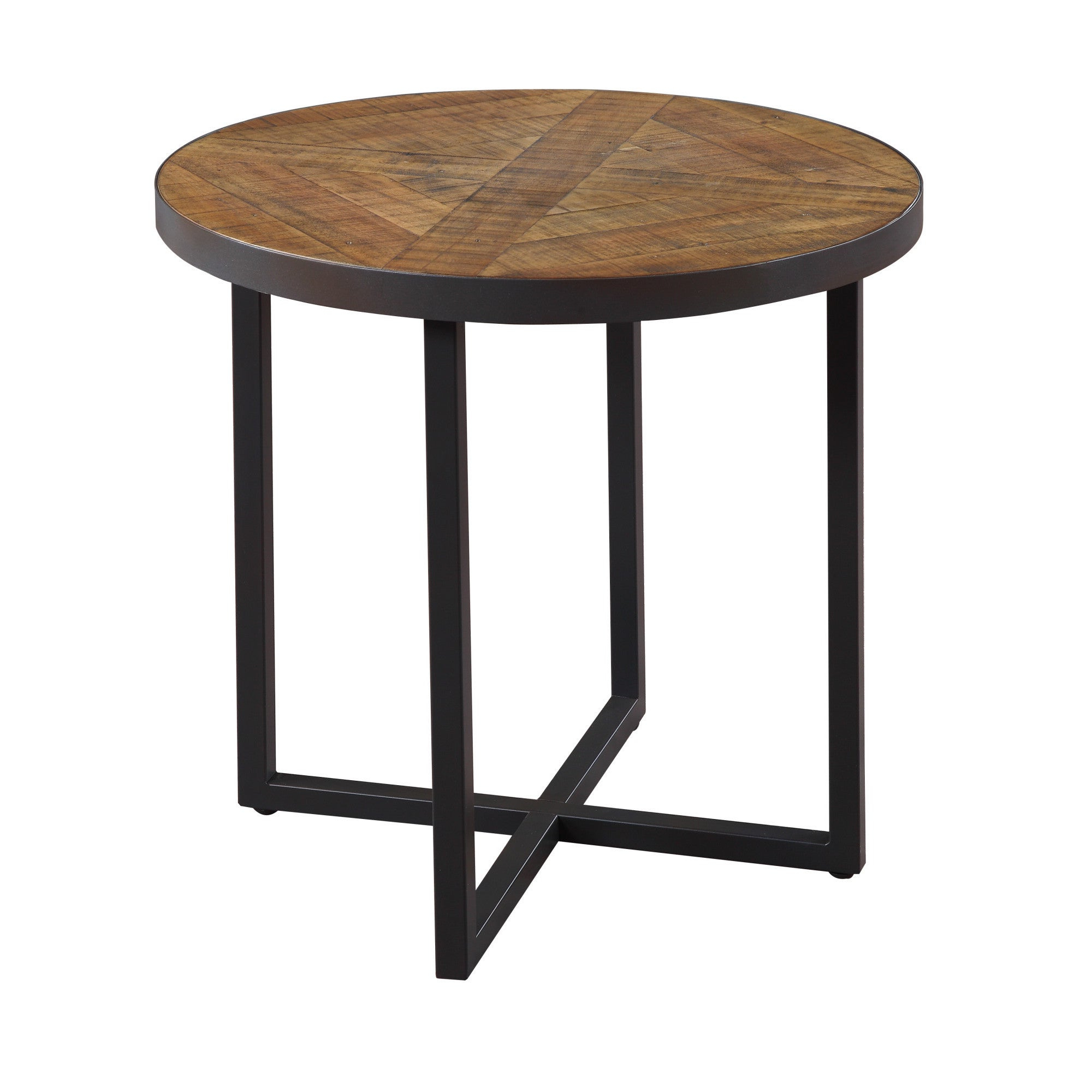 Details About Carbon Loft Moscovitz Rustic Poplar Round End Table Brown In Best And Newest Carbon Loft Enjolras Wood Steel Coffee Tables (View 12 of 20)
