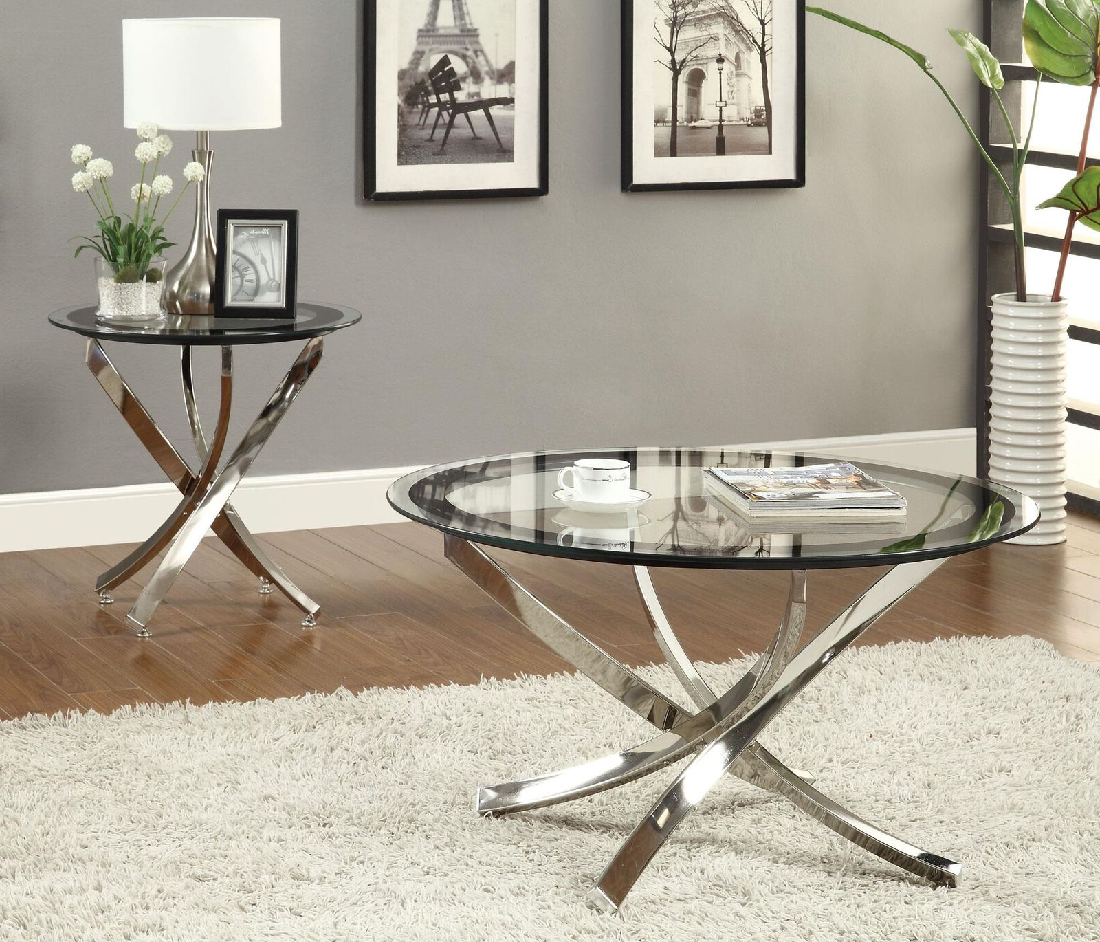 Details About Glass Top Chrome Coffee Table Chrome Contemporary For Most Current Cortesi Home Remi Contemporary Chrome Glass Coffee Tables (View 8 of 20)