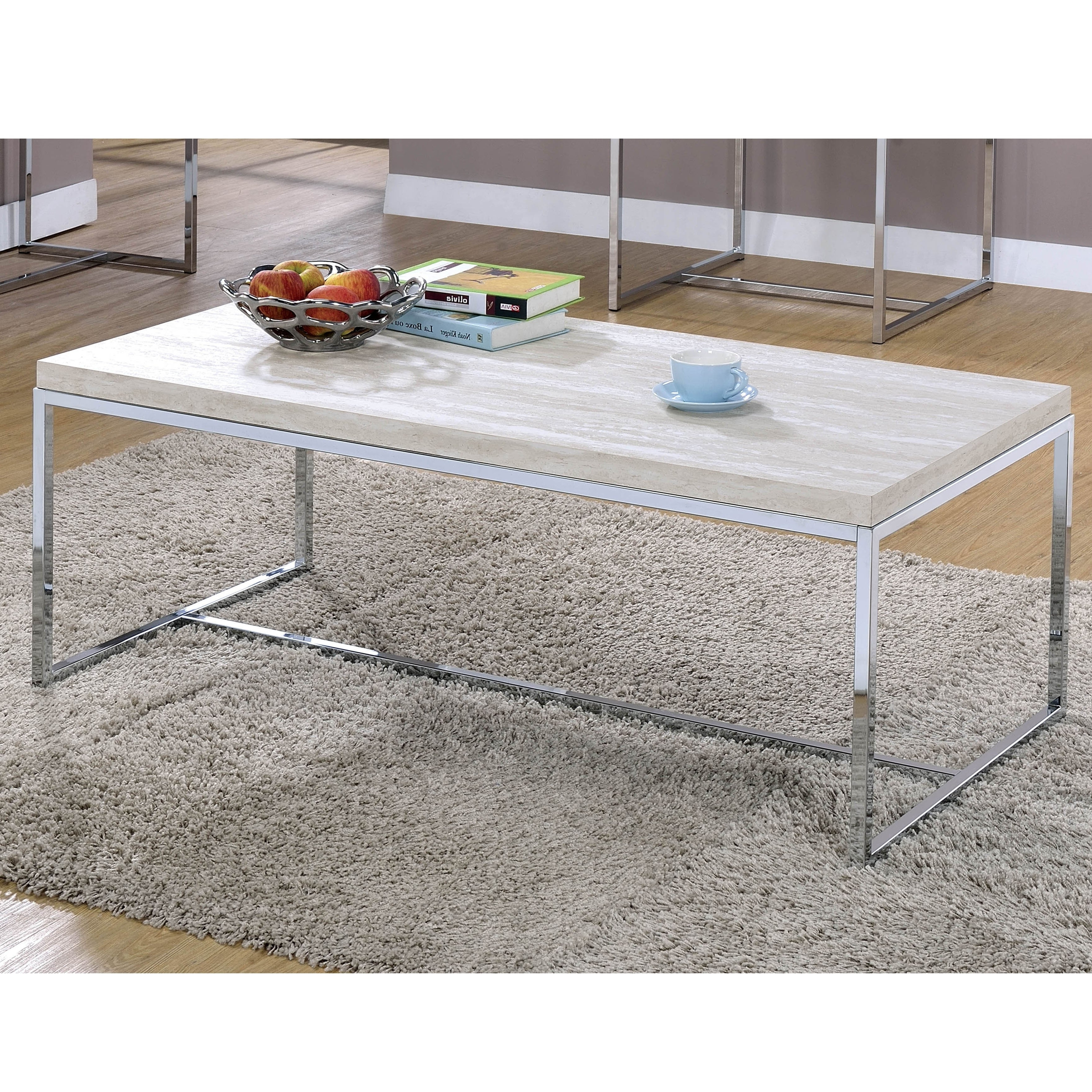 Details About Olsen Contemporary Chrome Coffee Tablefoa Pertaining To Preferred Furniture Of America Tellarie Contemporary Chrome Coffee Tables (View 7 of 20)