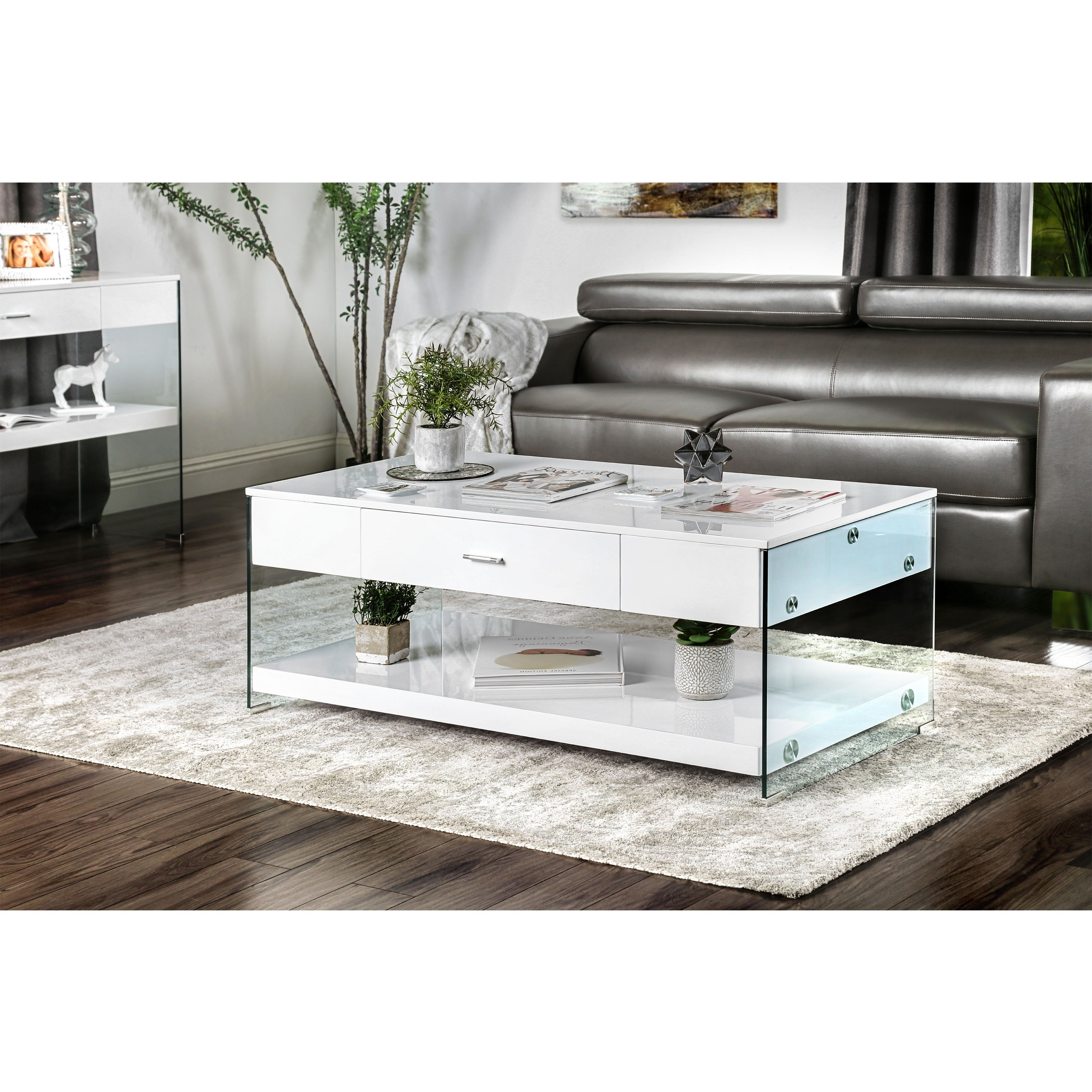 Details About Strick & Bolton Markus Contemporary Glass Coffee Table Regarding Well Liked Strick & Bolton Florence Chrome Coffee Tables (View 8 of 20)