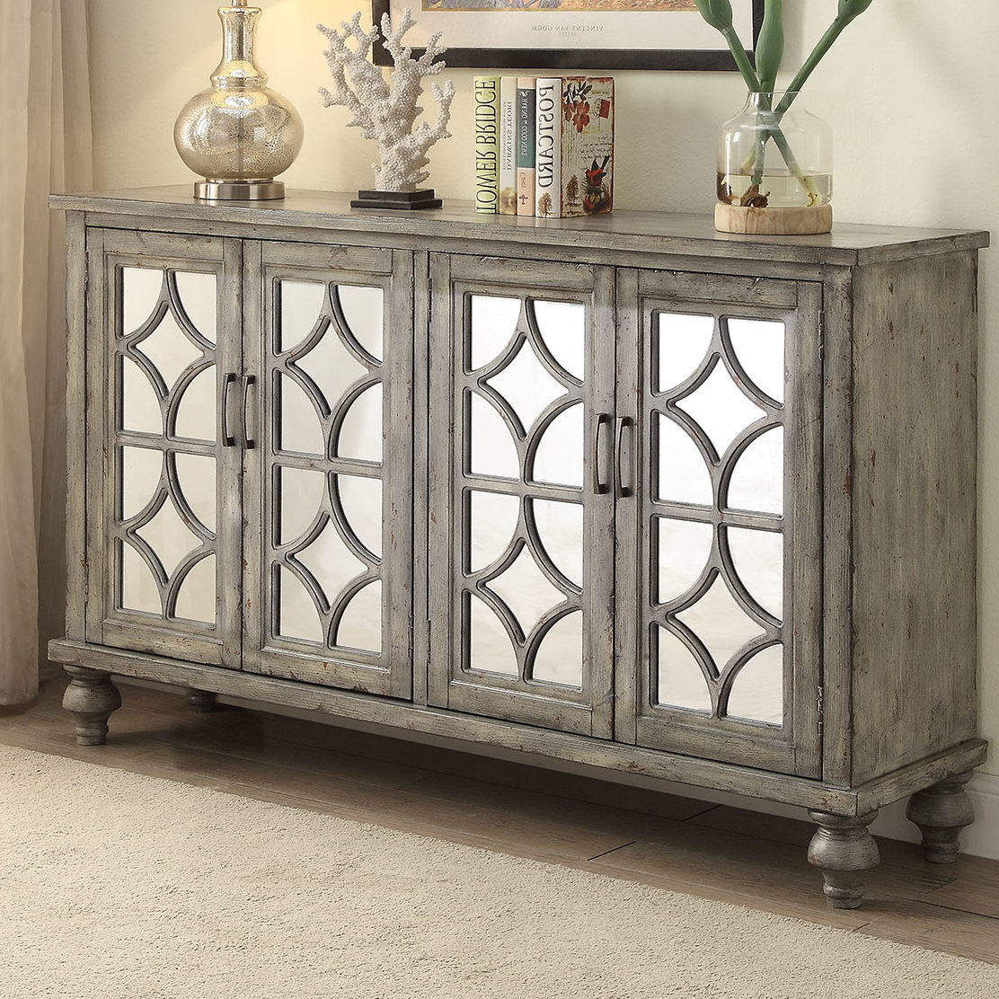 Diondre 4 Door Accent Cabinet | Wayfair With Kara 4 Door Accent Cabinets (View 10 of 20)