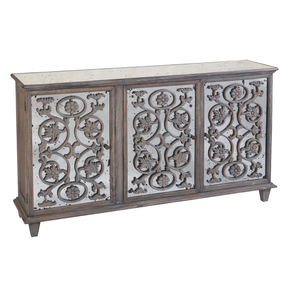 Dorset Antique Glass Flower Carvings Sideboard Pertaining To Etienne Sideboards (View 5 of 20)