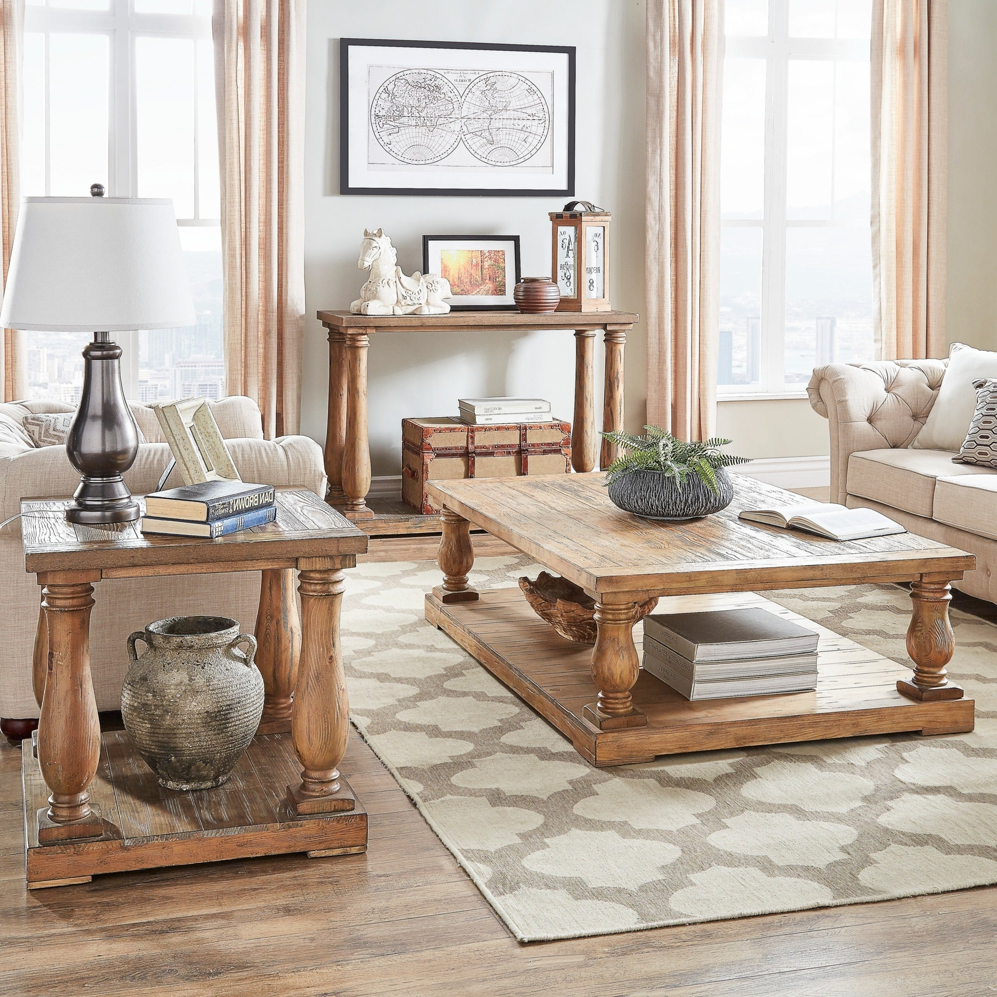 Edmaire Rustic Pine Baluster 3 Piece Table Setinspire Q Artisan In 2020 Edmaire Rustic Pine Baluster Coffee Tables (View 4 of 20)