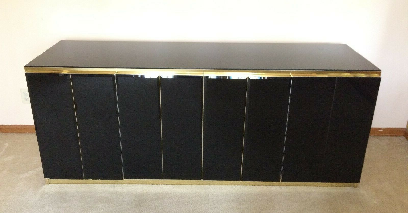 Ello: Credenza * Early Black Glass & Brass Design * 4 Door * Very Good Condition With Kieth 4 Door Credenzas (View 13 of 20)