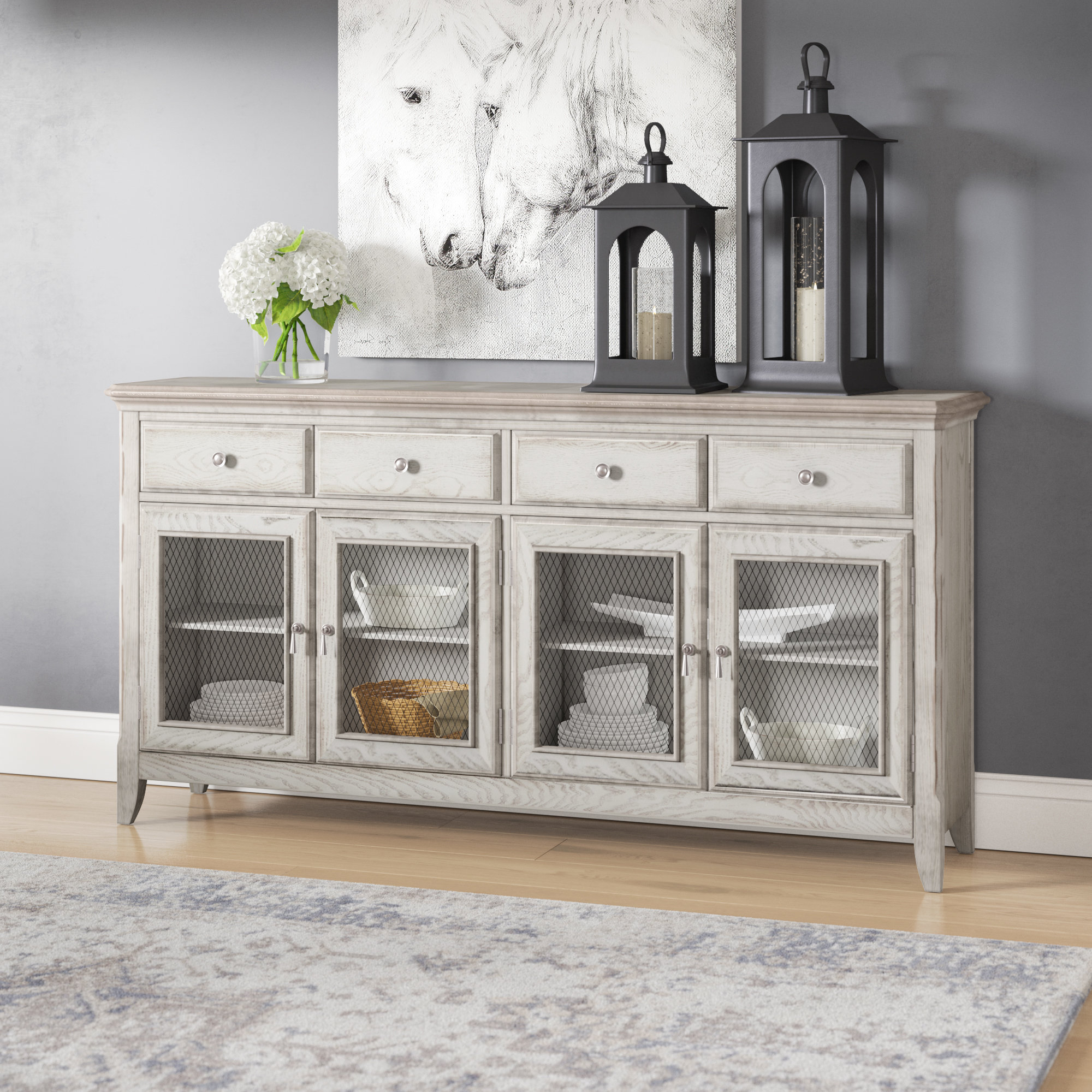 Elyza 4 Door Credenza | Wayfair Inside Elyza Credenzas (Gallery 4 of 20)
