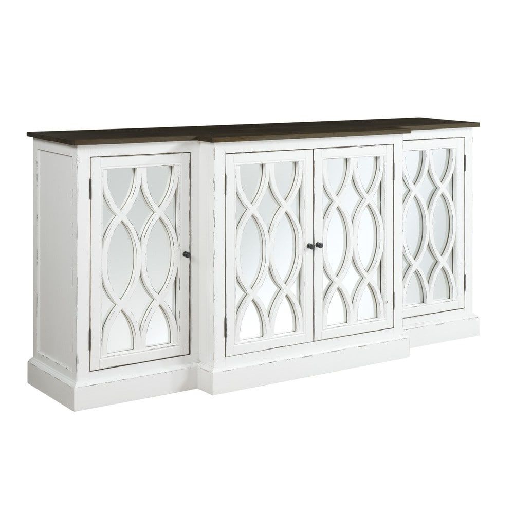 "Emerald Home Mountain Retreat 78"" W/mirror White Accent In Tott And Eling Sideboards (View 11 of 20)"