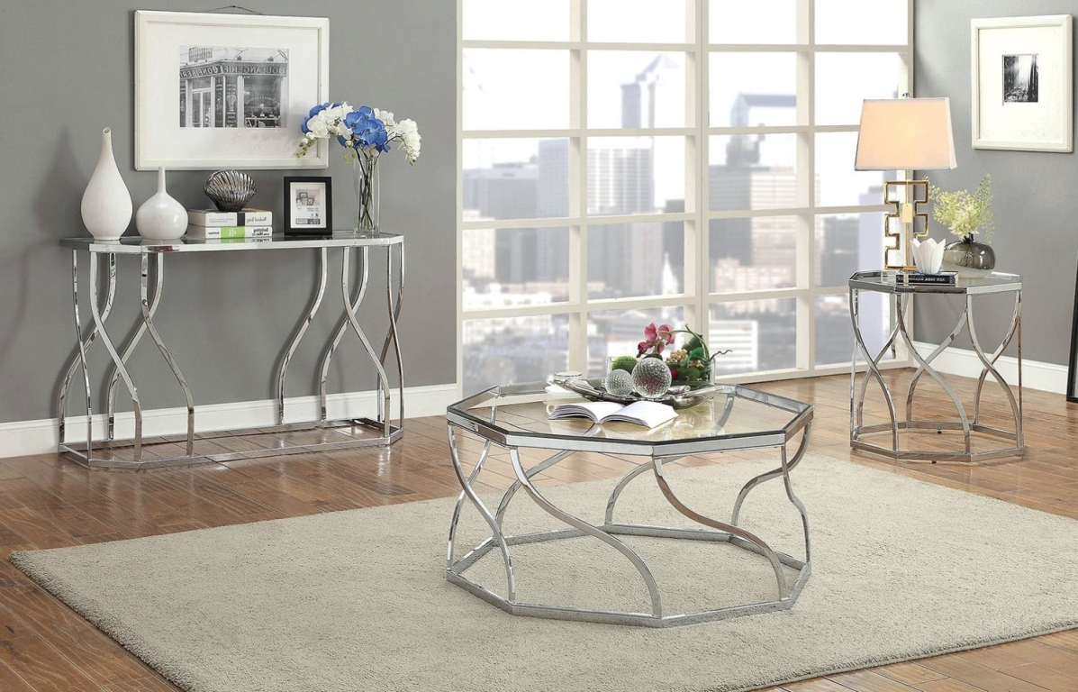 Evaline Collection Tables Set Cm4158 In Best And Newest Evalline Modern Dark Walnut Coffee Tables (Gallery 20 of 20)