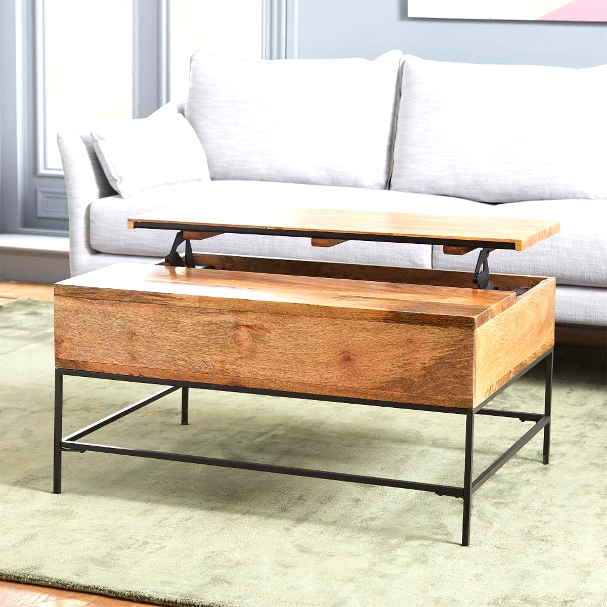 Excellent Coffee Table Storage Industrial Small 91 Cm West With Regard To Newest Bellamy Traditional Weathered Peppercorn Storage Coffee Tables (View 6 of 20)