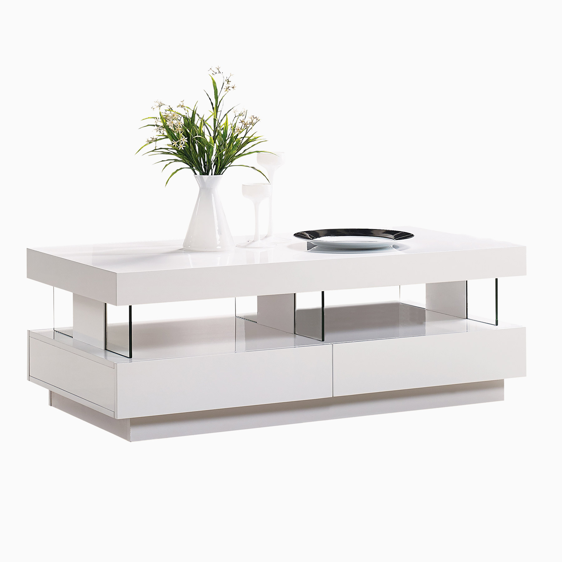 Expert Hi Gloss Coffee Table White Led Light Au2052D Inside Fashionable Strick & Bolton Sylvia Geometric High Gloss Coffee Tables (Gallery 9 of 20)