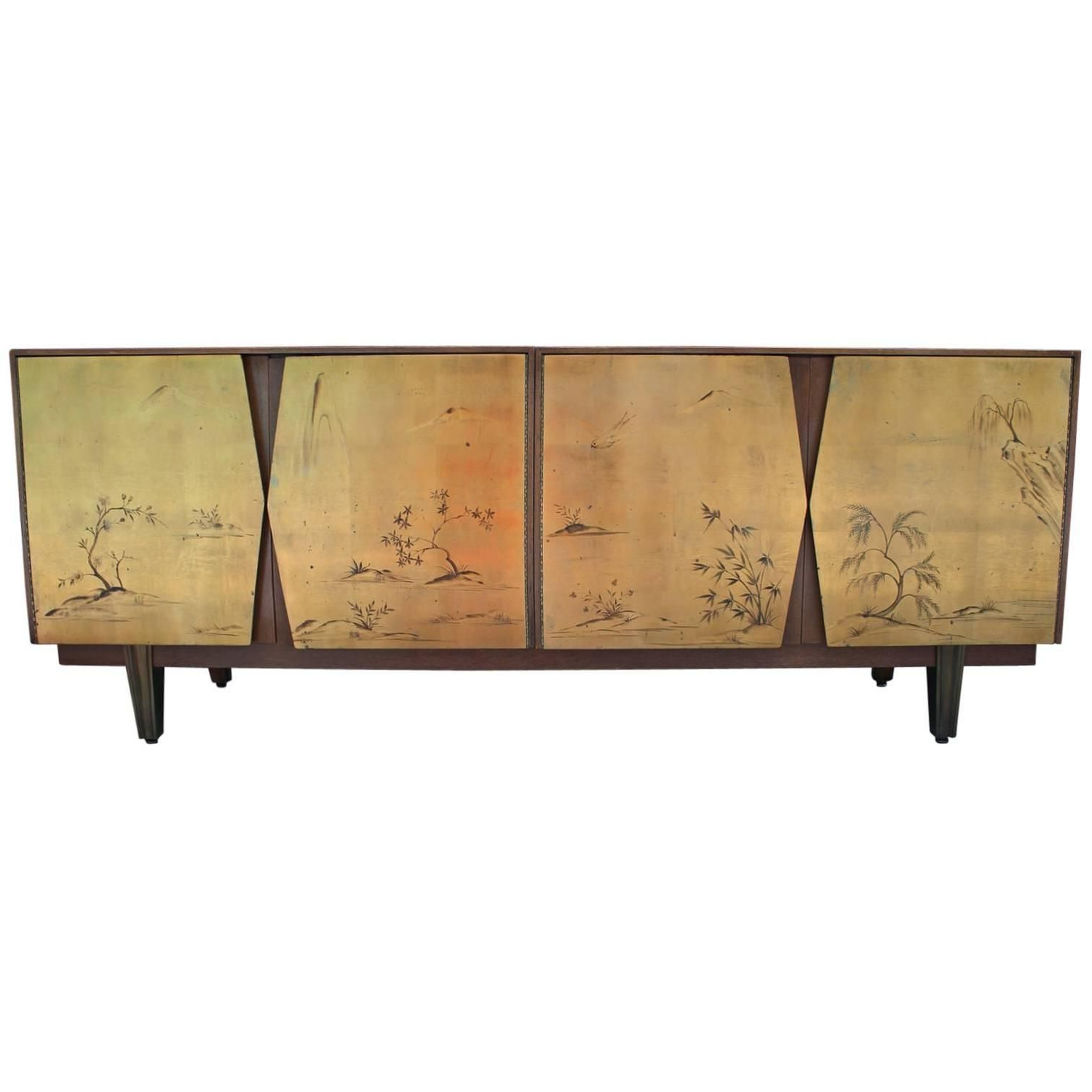 Fabulous Two Tone Gold Leaf Sideboard With Asian Motifs With Regard To Stephen Credenzas (View 16 of 20)