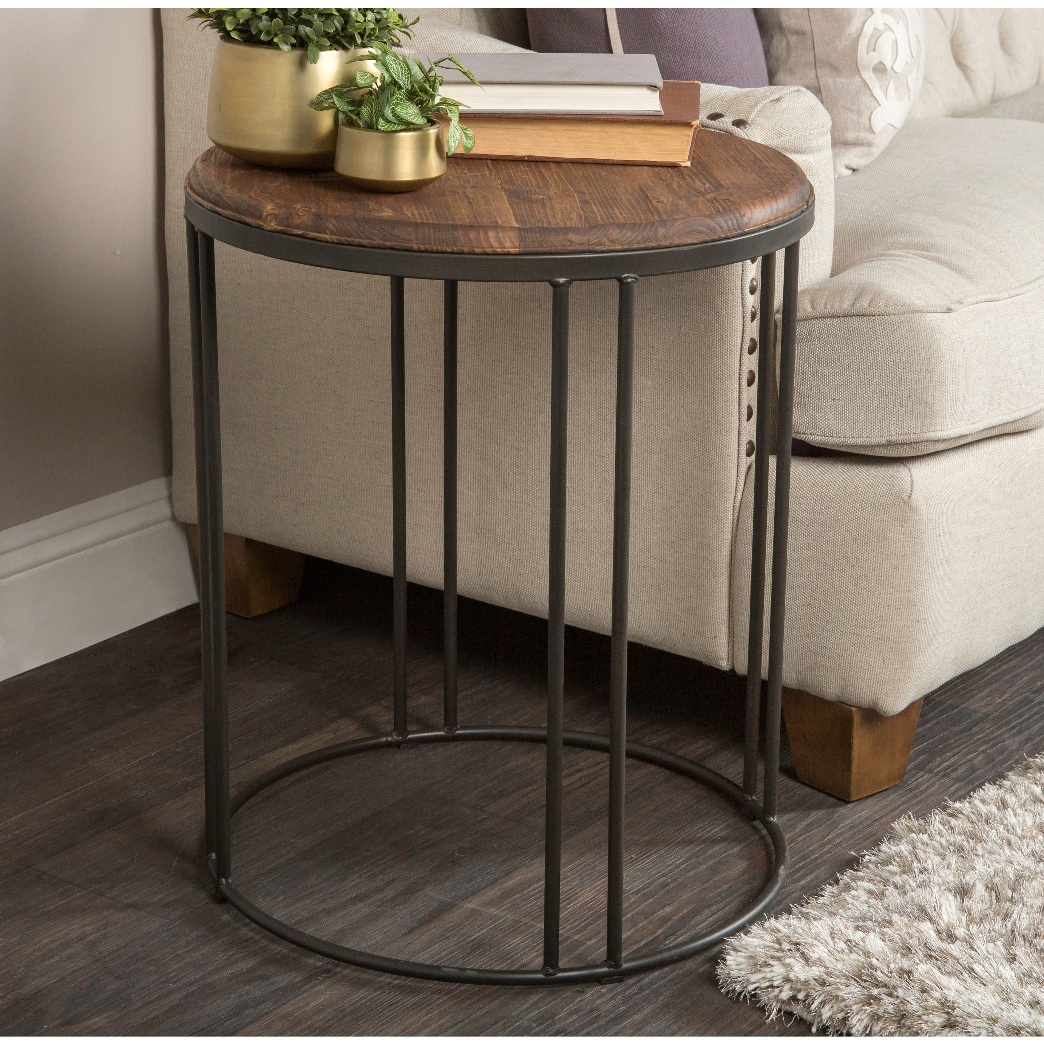 Famous Burnham Reclaimed Wood And Iron Round Coffee Tables Regarding Burnham Reclaimed Wood And Iron Round Side Tablekosas (View 11 of 20)