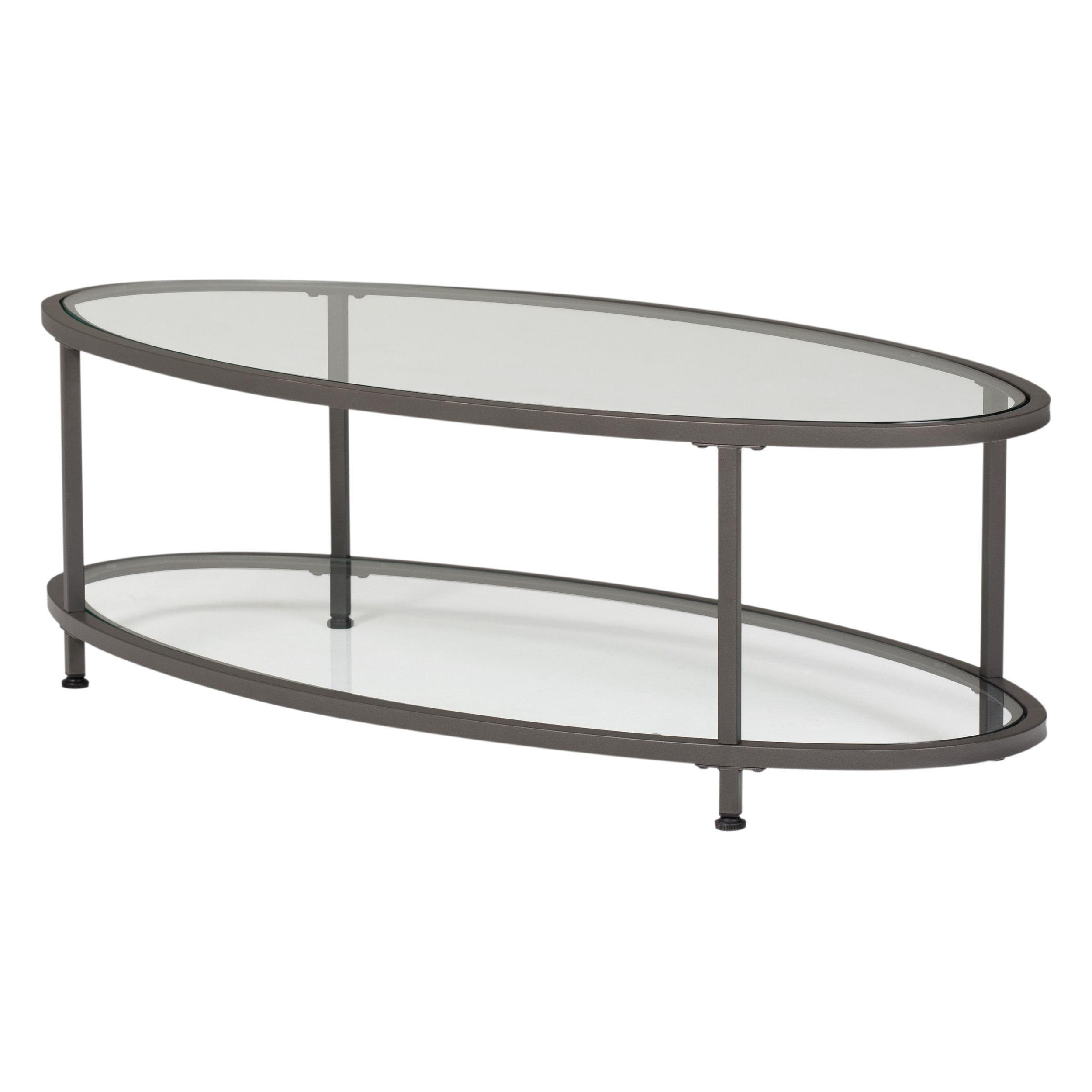 """Famous Carbon Loft Heimlich Pewter Steel/glass Round Coffee Tables In Carbon Loft Heimlich 48"""" Oval Coffee Table (View 13 of 20)"""