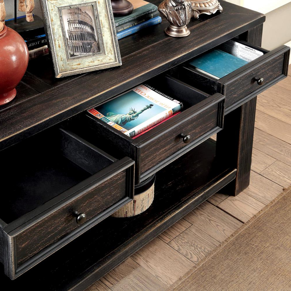 Famous Cosbin Rustic Bold Antique Black Coffee Tables In Jerry Antique Black 4 Drawer Sofa Table (View 11 of 20)