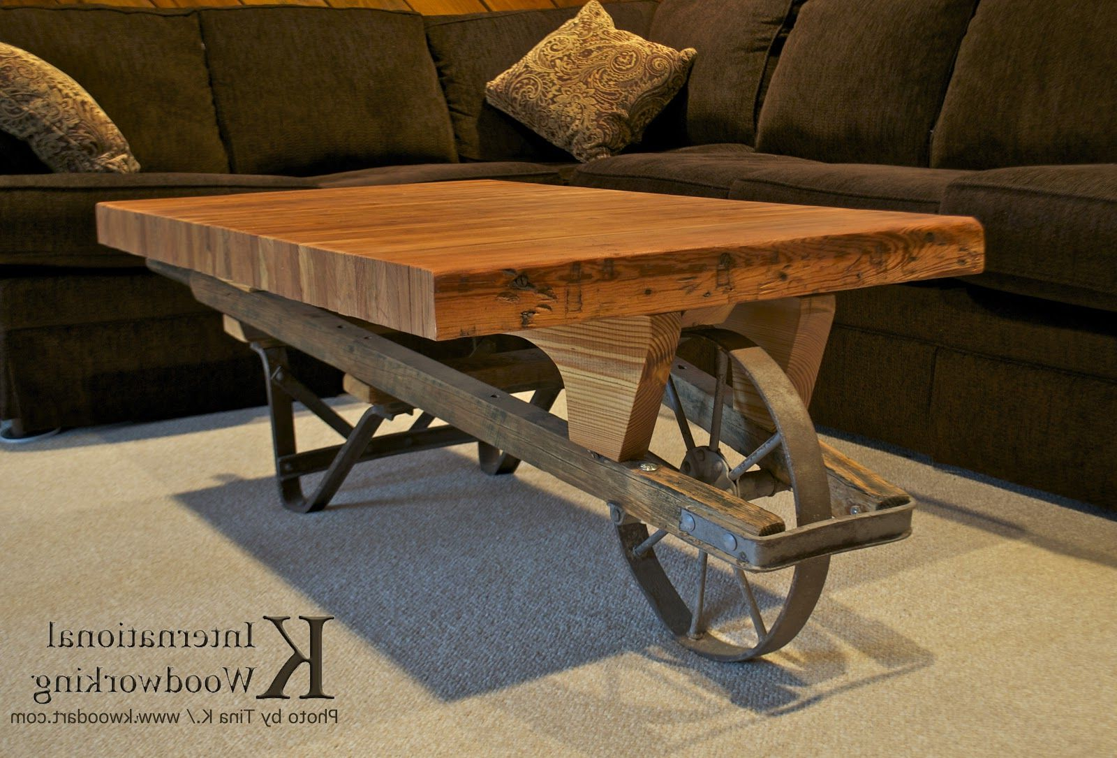 Famous Furniture Of America Charlotte Weathered Oak Glass Top Coffee Tables Pertaining To Wheelbarrow Coffee Table With 1890S Bowling Lane Coffee Top (View 8 of 20)