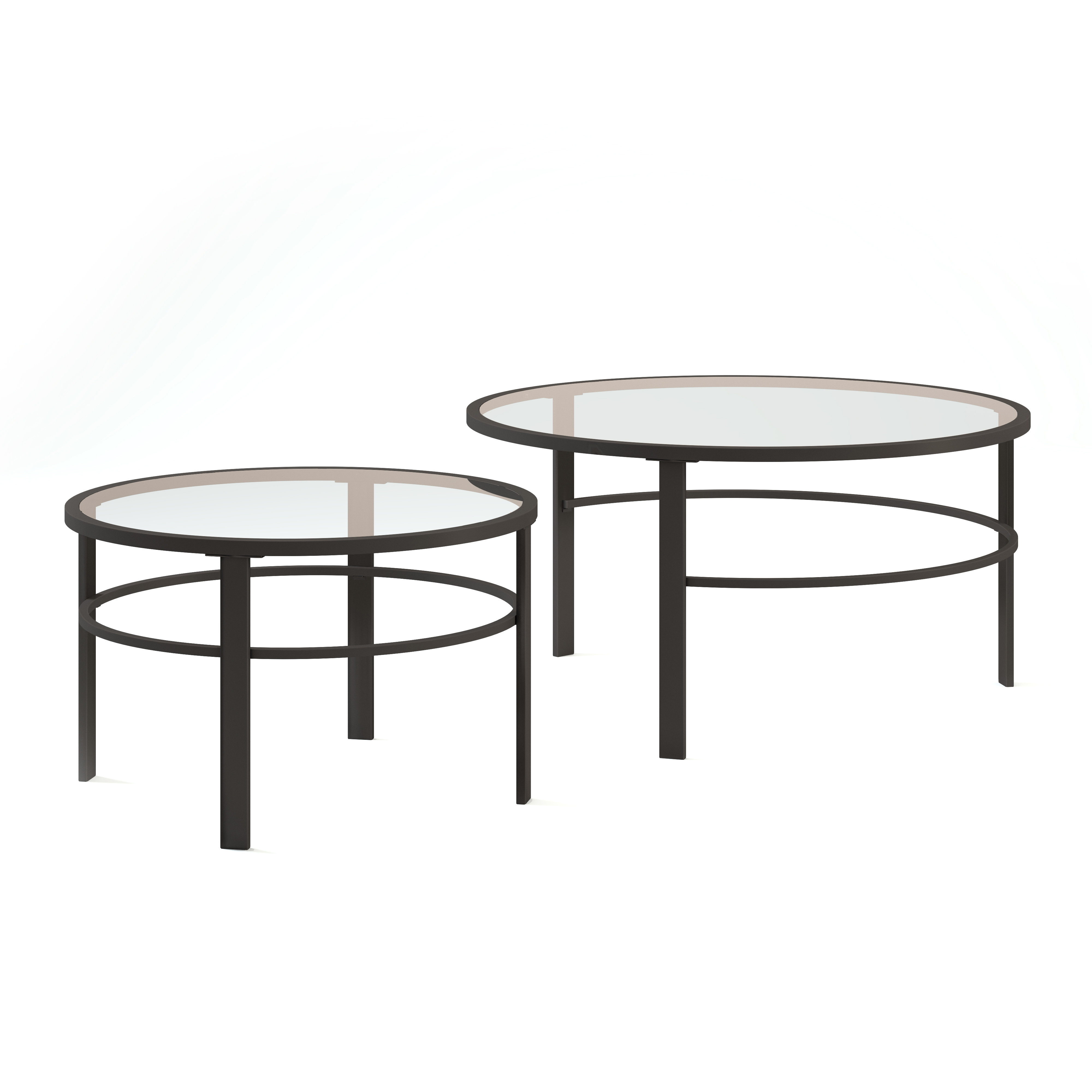 Famous Furniture Of America Crescent Dark Cherry Glass Top Oval Coffee Tables Within Modern & Contemporary Small Bunching Coffee Tables (View 6 of 20)
