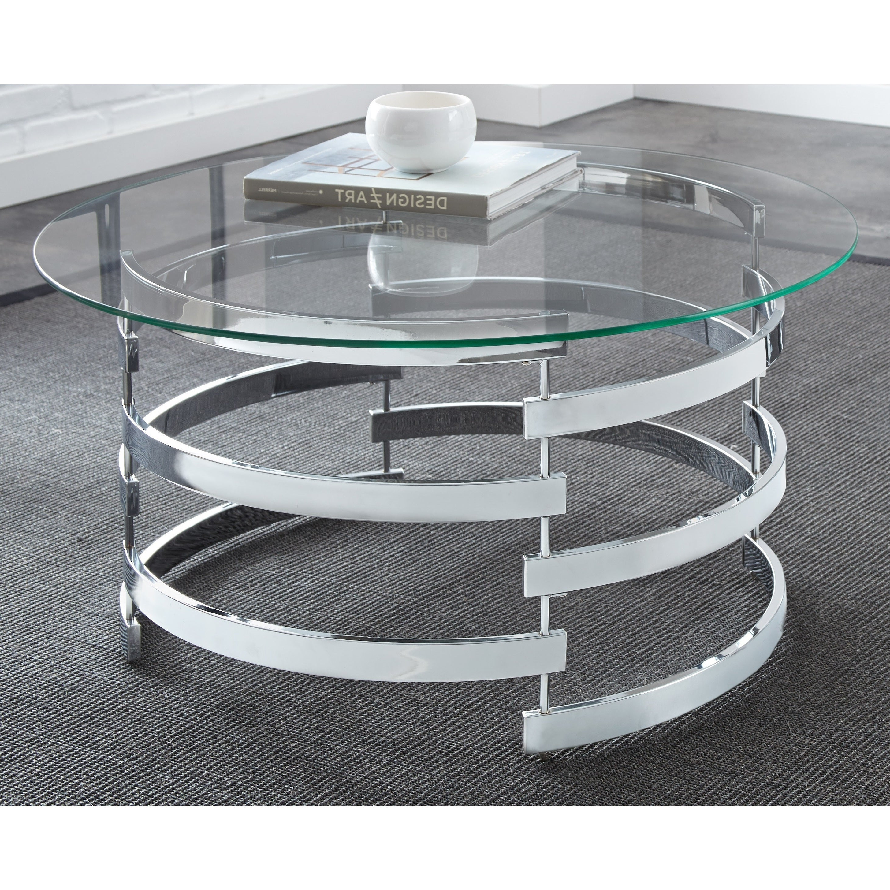 Famous Silver Orchid Ipsen Round Coffee Tables With X Base Throughout Details About Silver Orchid Bardeen Round Coffee Table Clear (View 11 of 20)