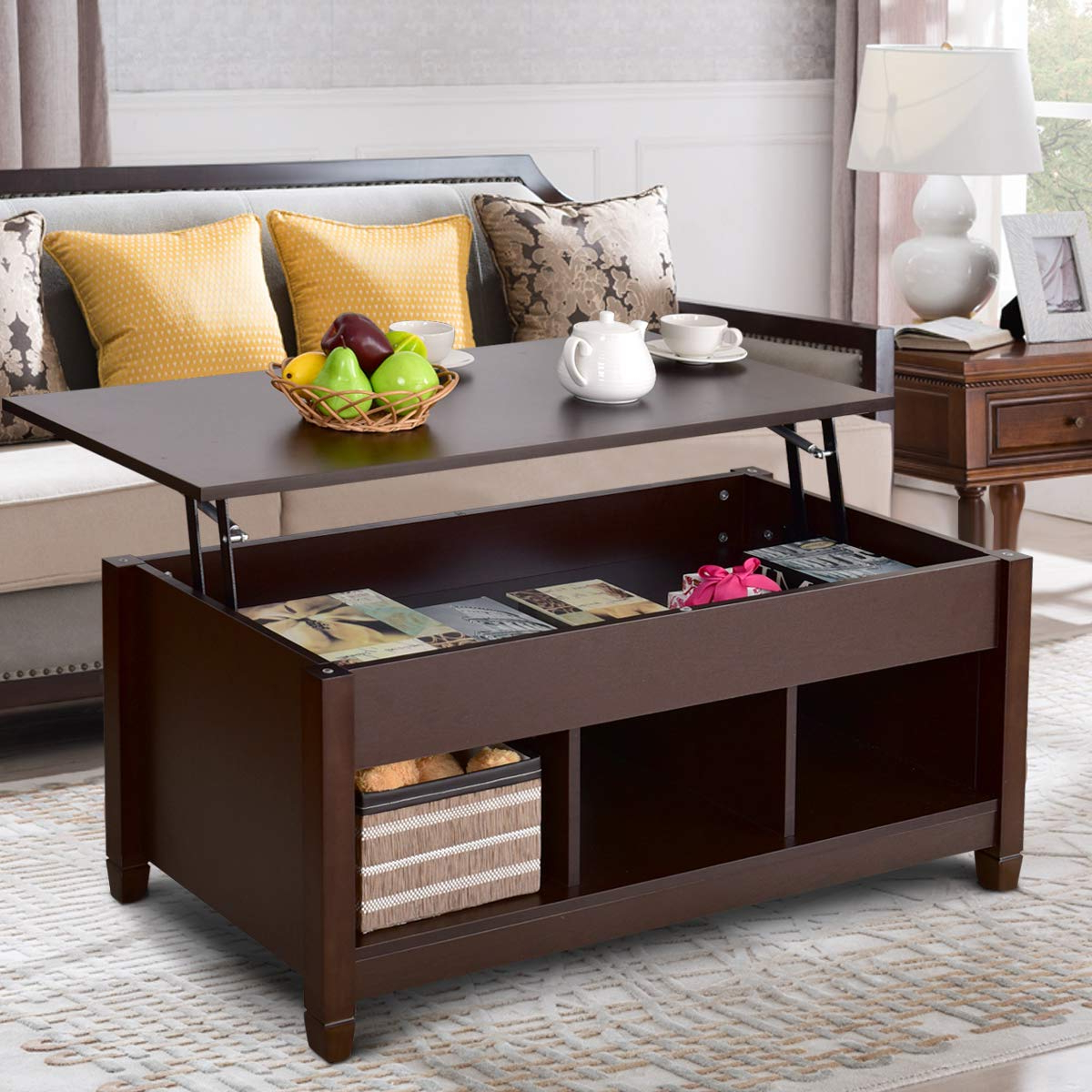 Famous Solid Hardwood Rectangle Mid Century Modern Coffee Tables Intended For Dark Brown Mid Century Modern Lift Top Coffee Table – Dynkdecor (View 16 of 20)