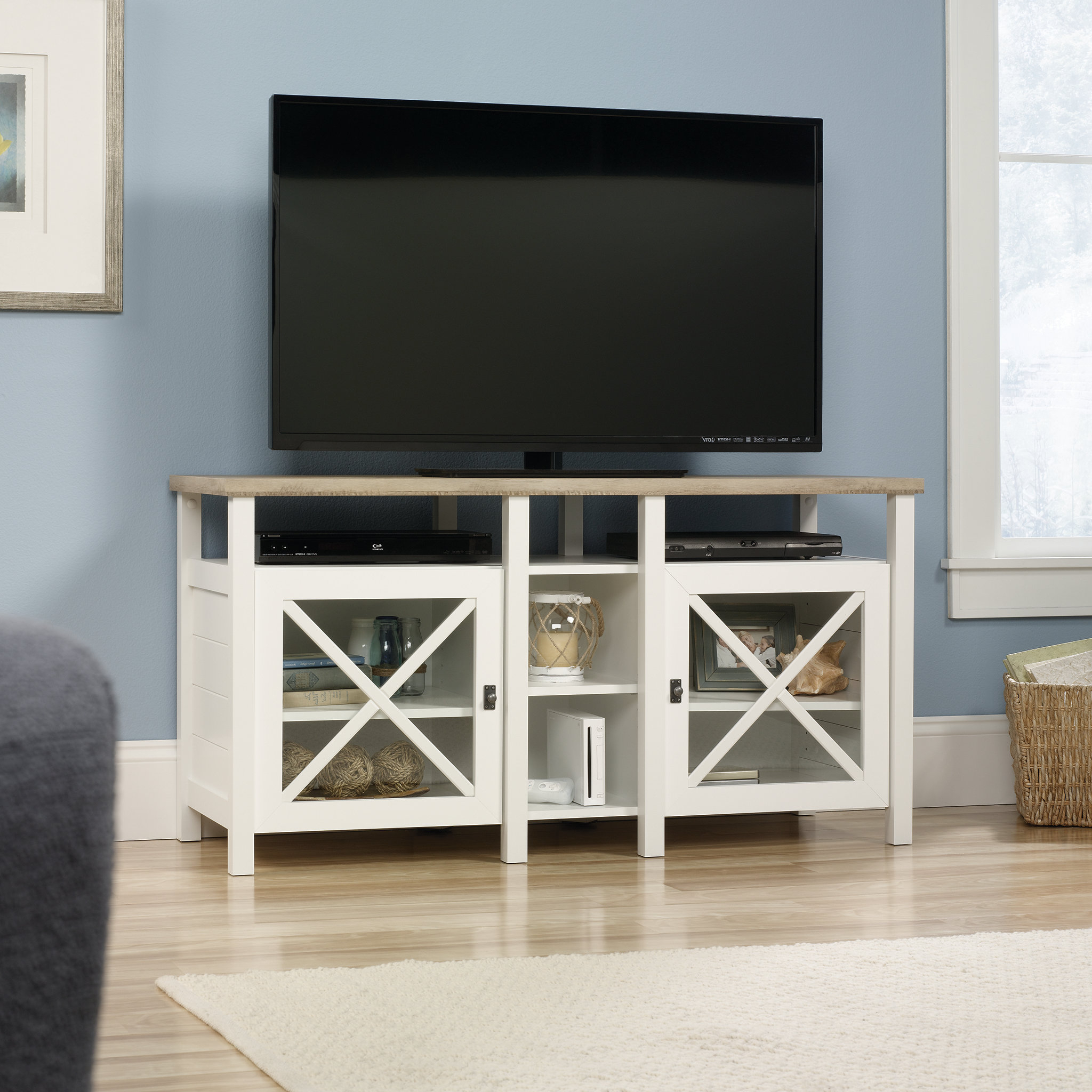 "Farmhouse & Rustic Beige Tv Stands | Birch Lane Throughout Colefax Vintage Tv Stands For Tvs Up To 78"" (View 19 of 20)"