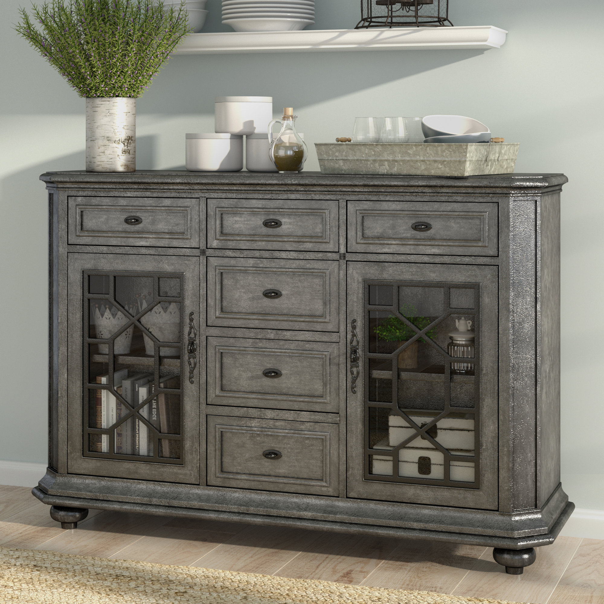 Farmhouse & Rustic Bungalow Rose Sideboards & Buffets Intended For Dillen Sideboards (View 12 of 20)