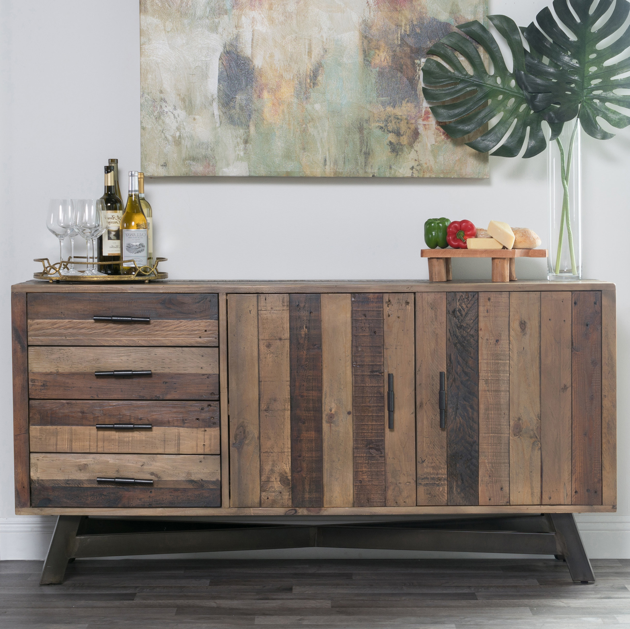 Farmhouse & Rustic Reclaimed Wood Sideboards & Buffets With Regard To Filkins Sideboards (View 7 of 20)