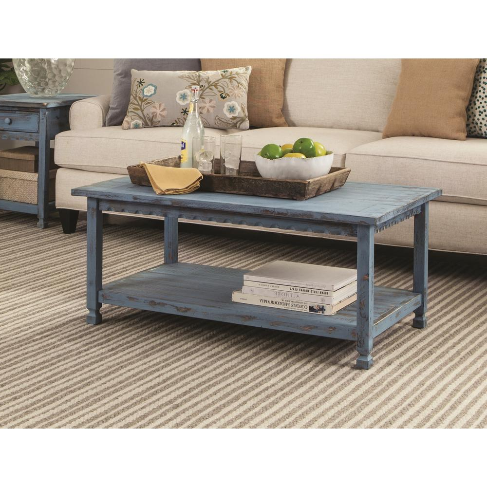 Fashionable Alaterre Country Cottage Wooden Long Coffee Tables Throughout Alaterre Furniture Country Cottage Blue Antique 42 In (View 6 of 20)