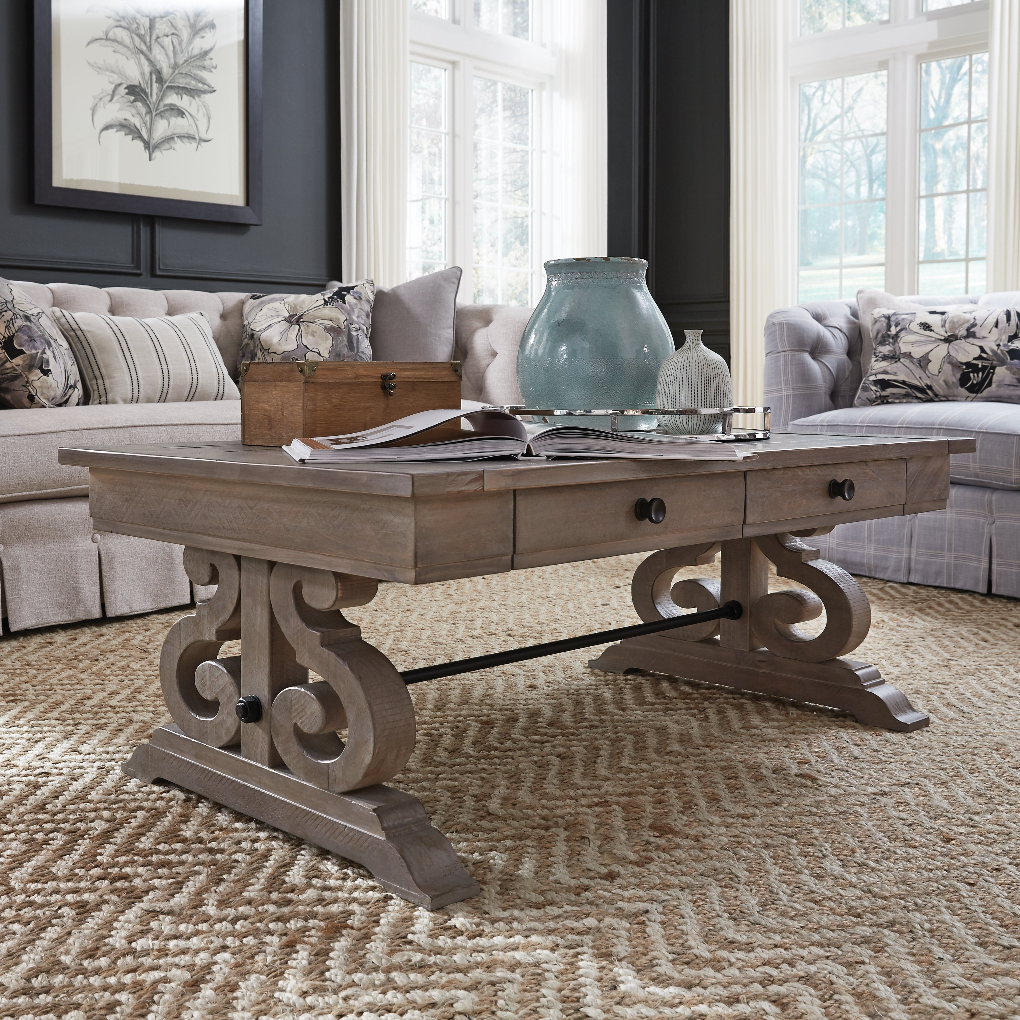 Fashionable Bellamy Traditional Weathered Peppercorn Storage Coffee Tables Regarding Tinley Park Traditional Dove Tail Grey Coffee Table (View 8 of 20)