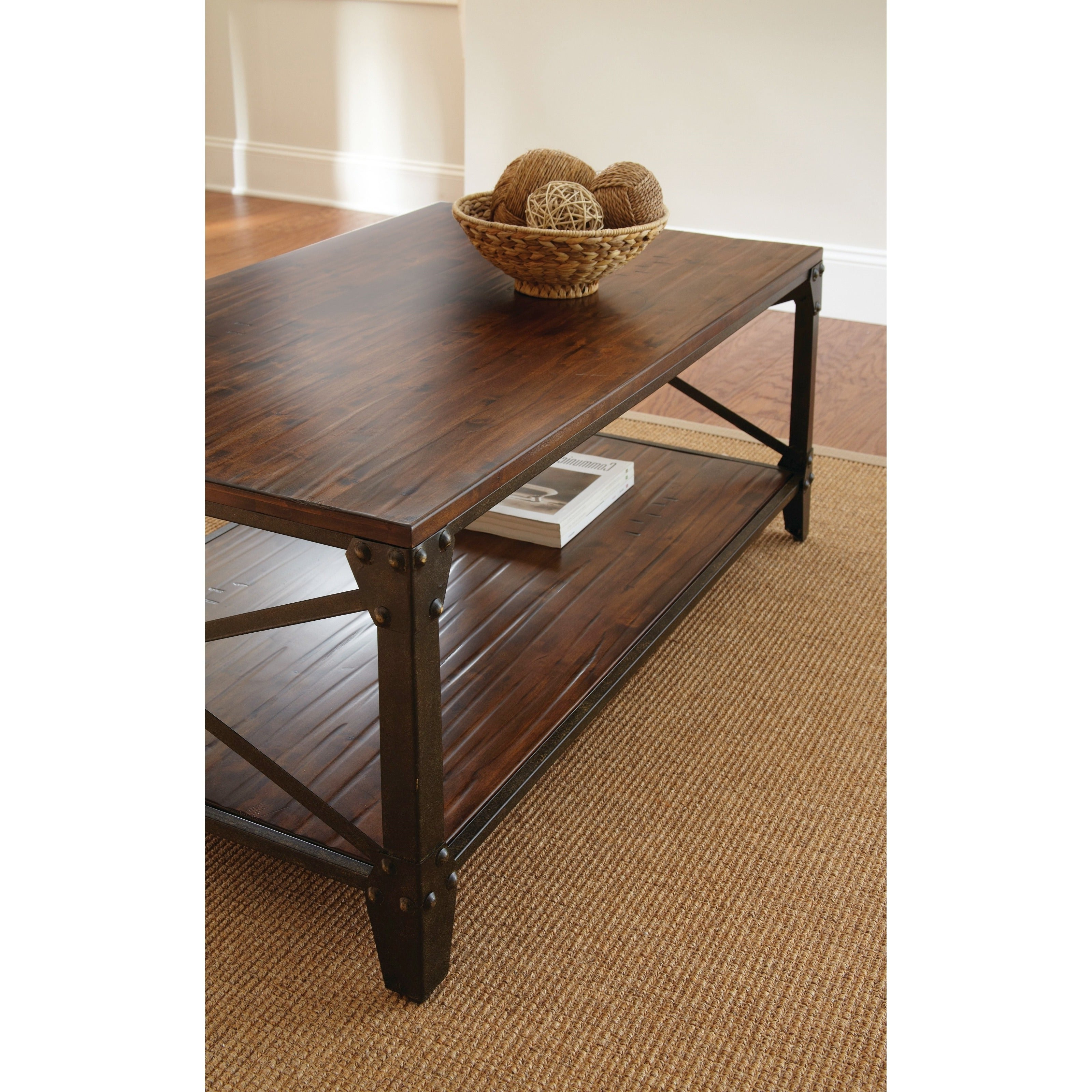 Fashionable Carbon Loft Fischer Brown Solid Birch And Iron Rustic Coffee Tables Inside Carbon Loft Fischer Brown Solid Birch And Iron Rustic Coffee Table (View 8 of 20)