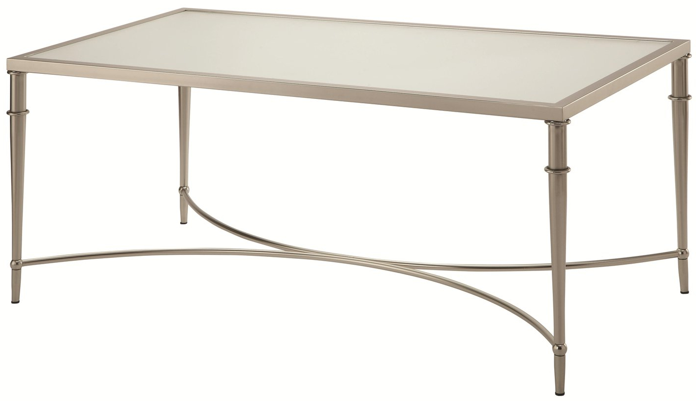 Fashionable Coaster Company Silver Glass Coffee Tables In Coaster Company Satin Nickel Coffee Table – Rascalartsnyc (View 12 of 20)