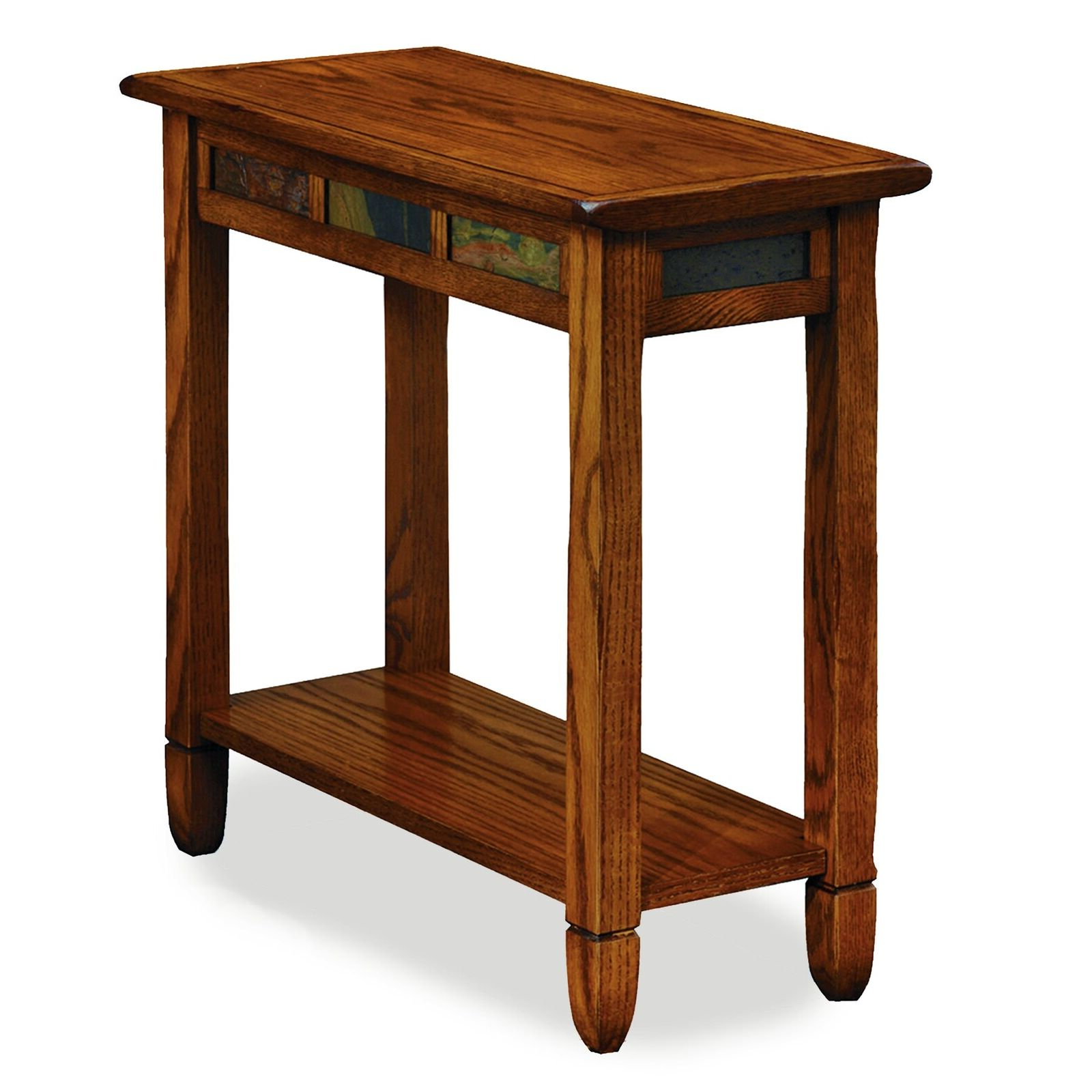 Fashionable Copper Grove Ixia Rustic Oak And Slate Tile Coffee Tables With Leick 10060 Rustic Oak Chairside End Table (View 7 of 20)