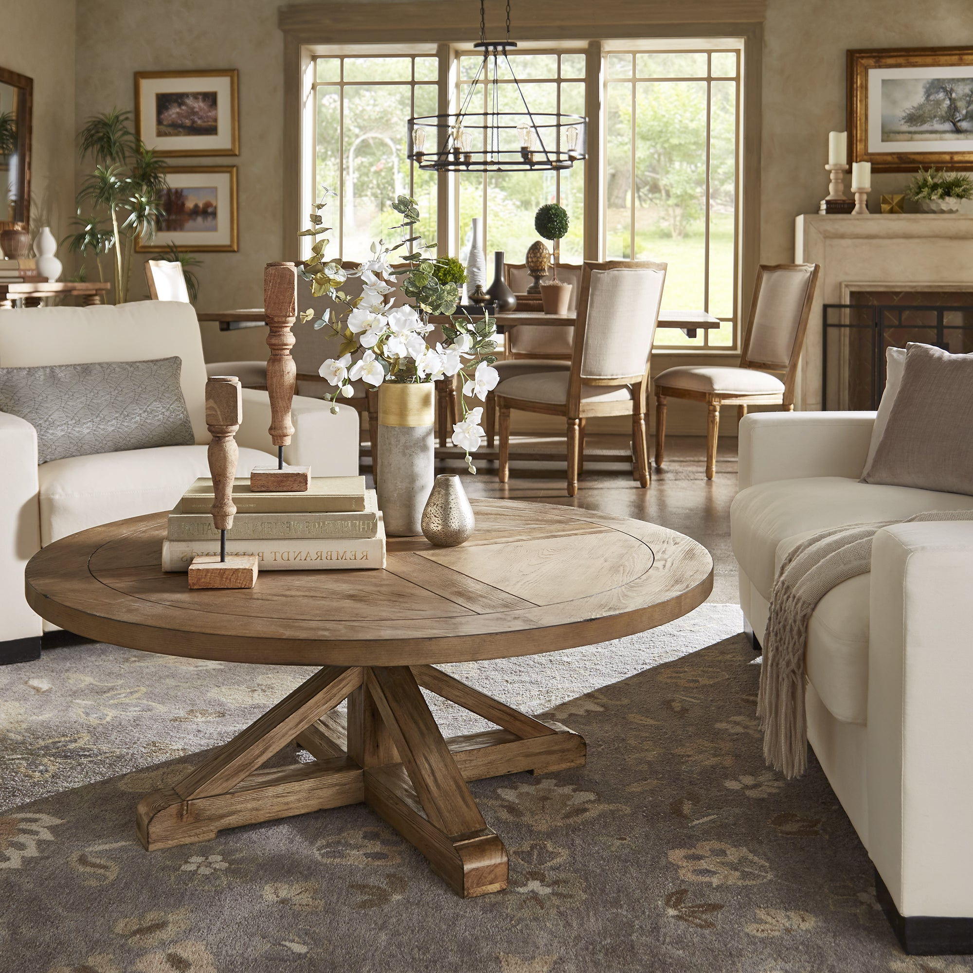 Fashionable Edmaire Rustic Pine Baluster Coffee Tables Throughout Benchwright Rustic X Base Round Pine Wood Coffee Tablebrown 54 X  (View 11 of 20)