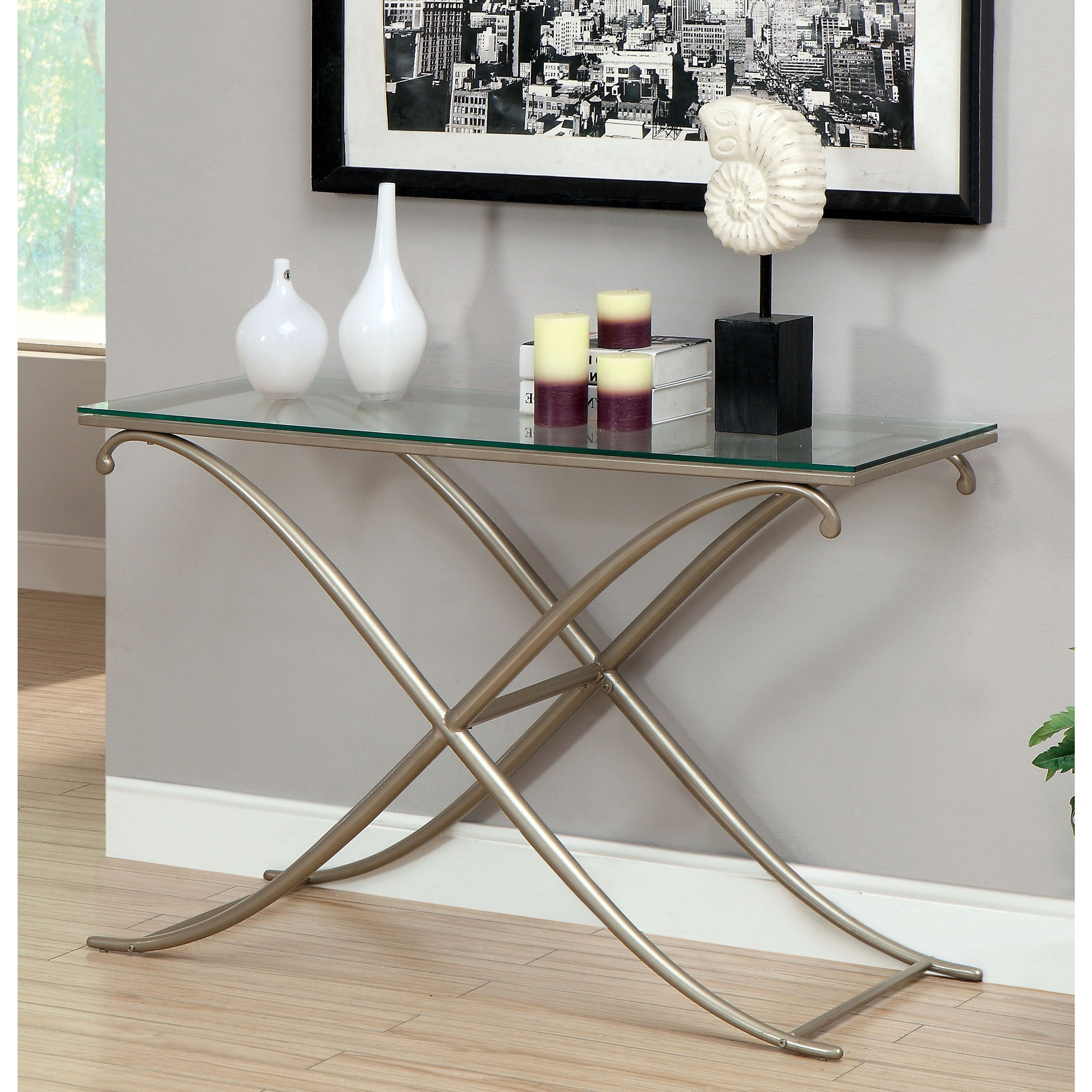 Fashionable Furniture Of America Orelia Brass Luxury Copper Metal Coffee Tables Intended For Furniture Of America Visconti Contemporary Sofa Table (View 8 of 20)