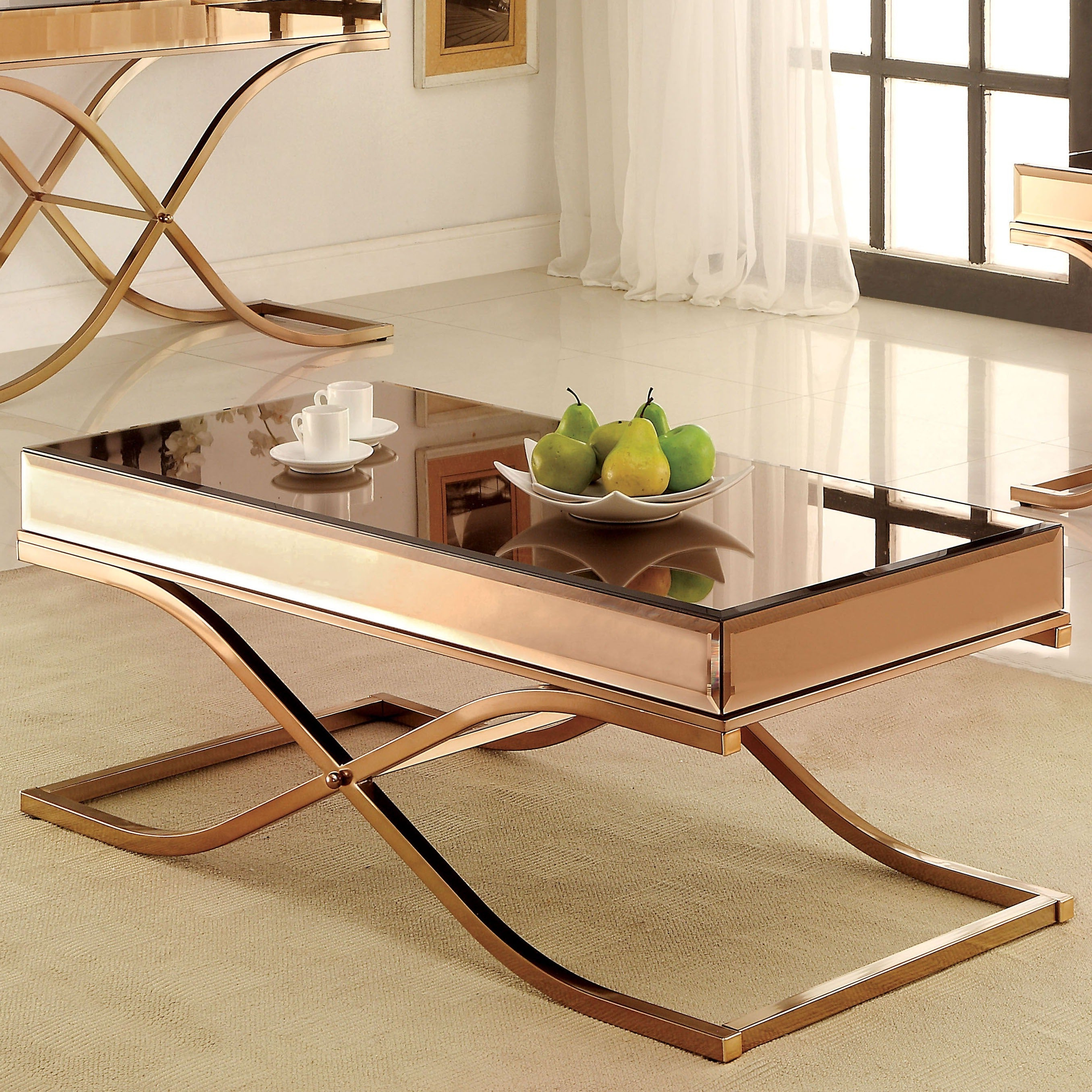 Featured Photo of Furniture Of America Orelia Brass Luxury Copper Metal Coffee Tables