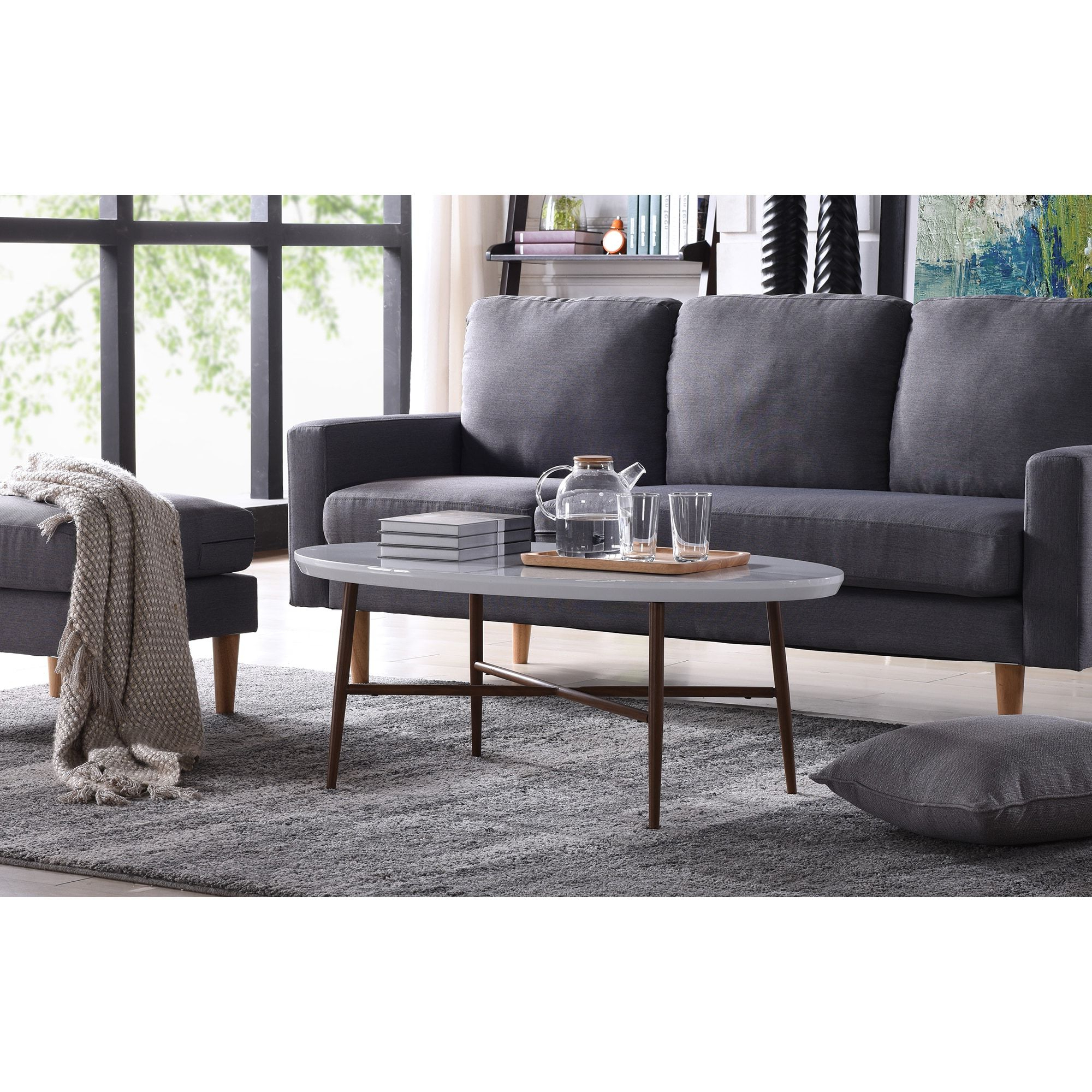 Fashionable Handy Living Miami White Oval Coffee Tables With Brown Metal Legs Inside Handy Living Miami White Oval Coffee Table With Brown Metal (View 10 of 20)