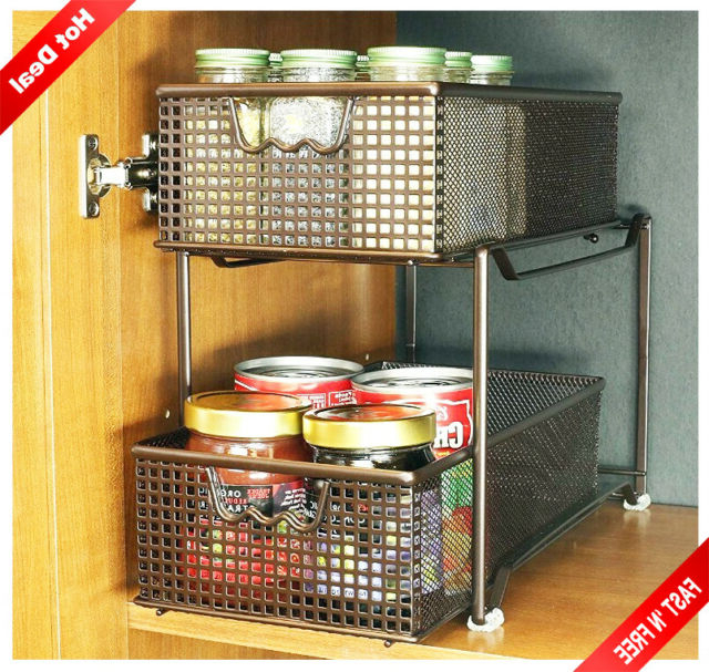 Fashionable Kitchen Pantry By Rebrilliant Pertaining To 2 Tier Sliding Basket Organizer Metal Mesh Drawer Pantry Closets Pull Out Rack (View 15 of 20)