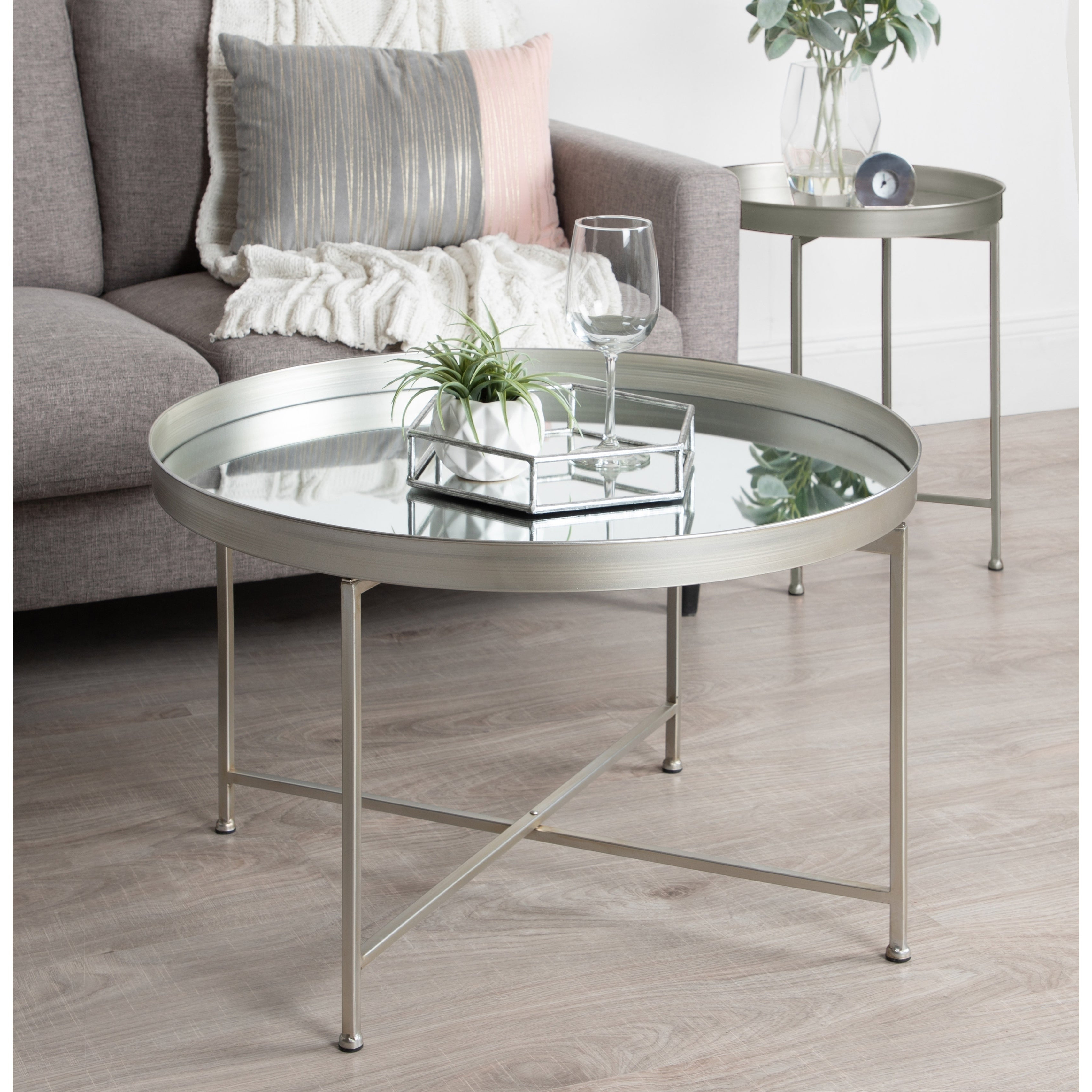 Fashionable Mitera Round Metal Glass Nesting Coffee Tables With Kate And Laurel Celia Metal/glass Round Mirrored Coffee Table (View 3 of 20)