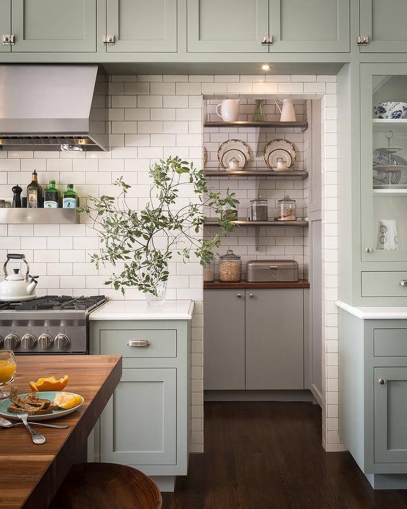 Fashionable Subway Tiled Kitchen Pantry Doorway – Transitional – Kitchen Regarding Moravia Kitchen Pantry (View 6 of 20)