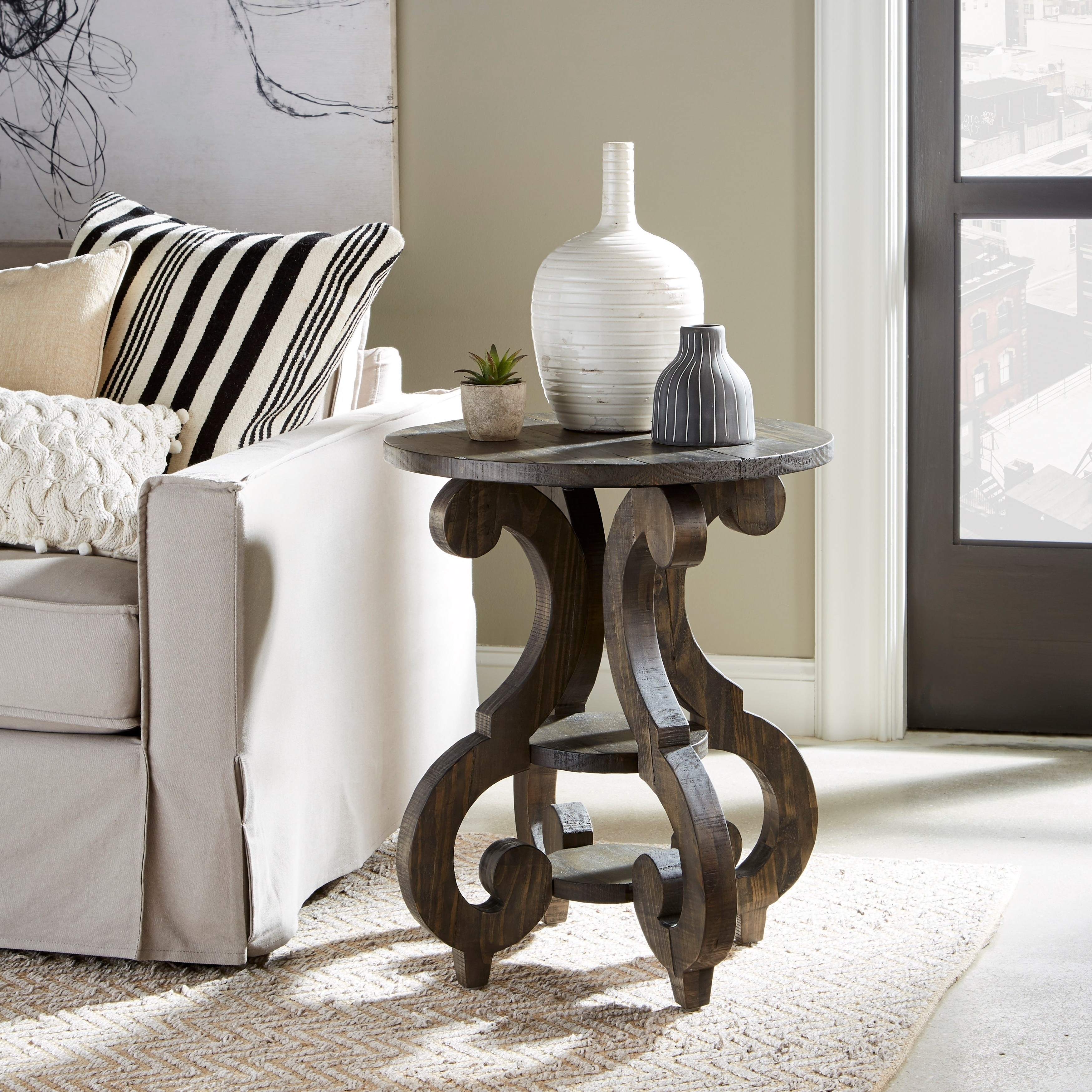 Favorite Bellamy Traditional Weathered Peppercorn Storage Coffee Tables Regarding Bellamy Traditional Weathered Peppercorn Round Accent Table (View 5 of 20)