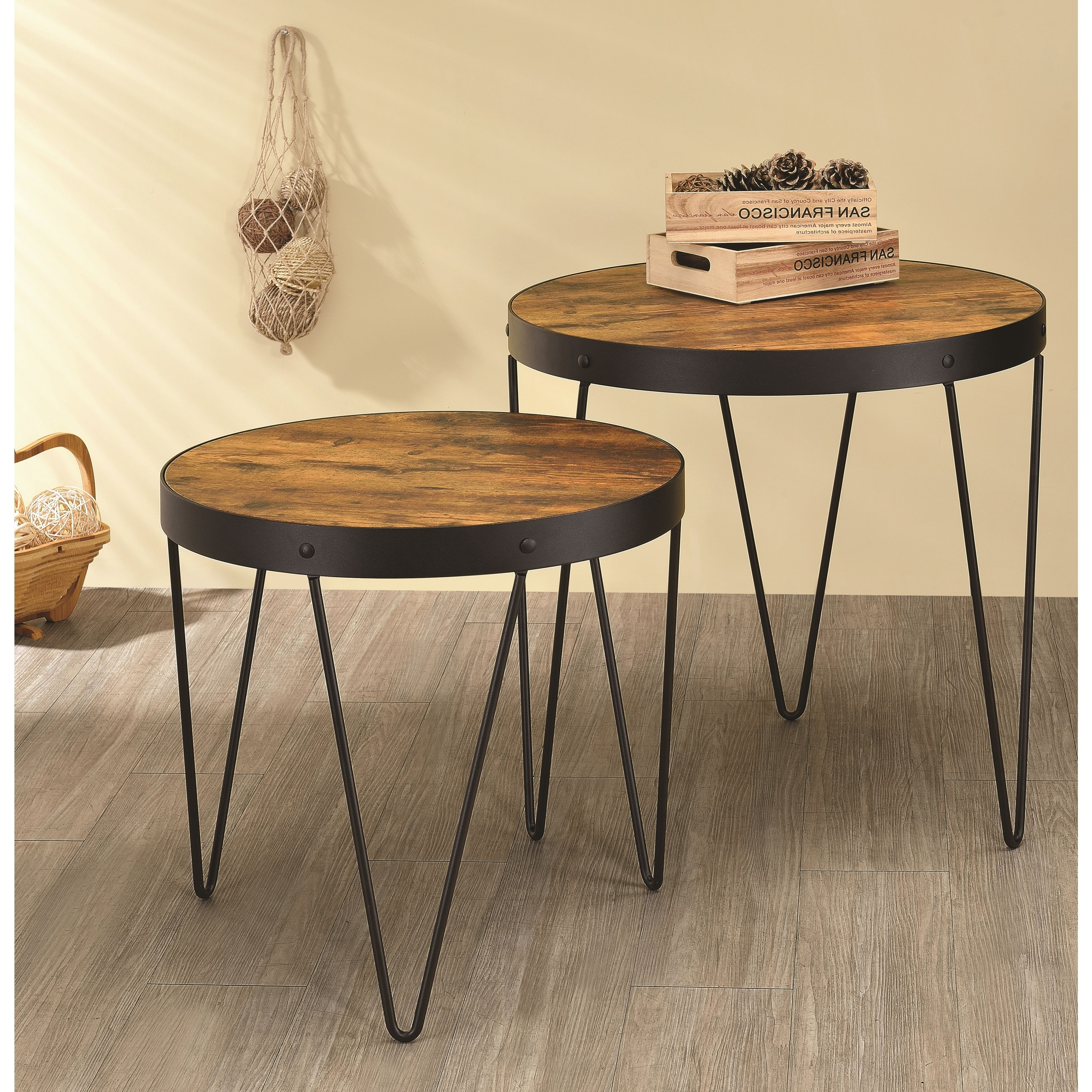 Favorite Carson Carrington Arendal Guitar Pick Nesting Coffee Tables In Kasreal Round Honey Cherry 2 Piece Nesting Table Set (Honey (View 12 of 20)